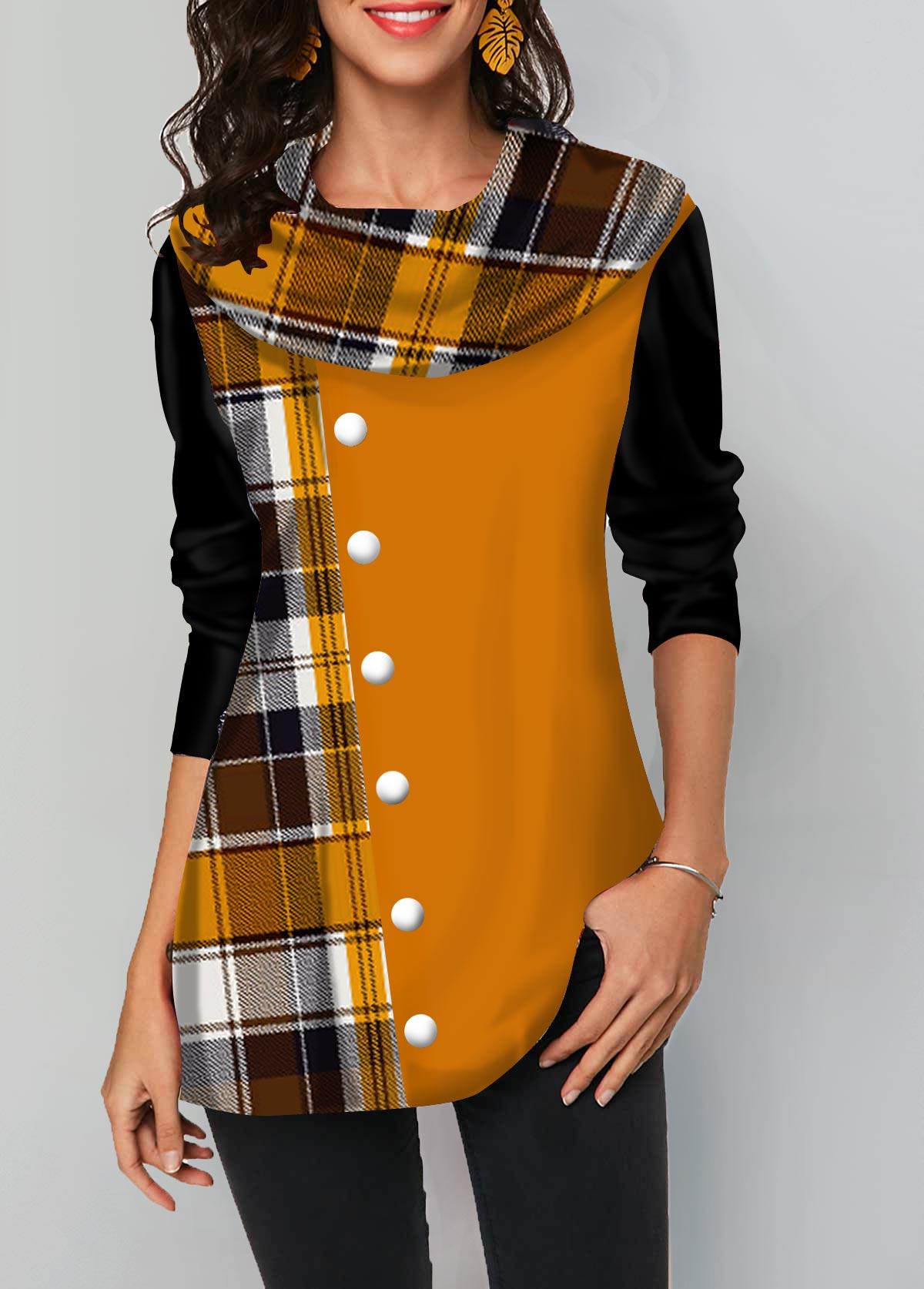 Geometric Print Long Sleeve Layered Hem T Shirt
