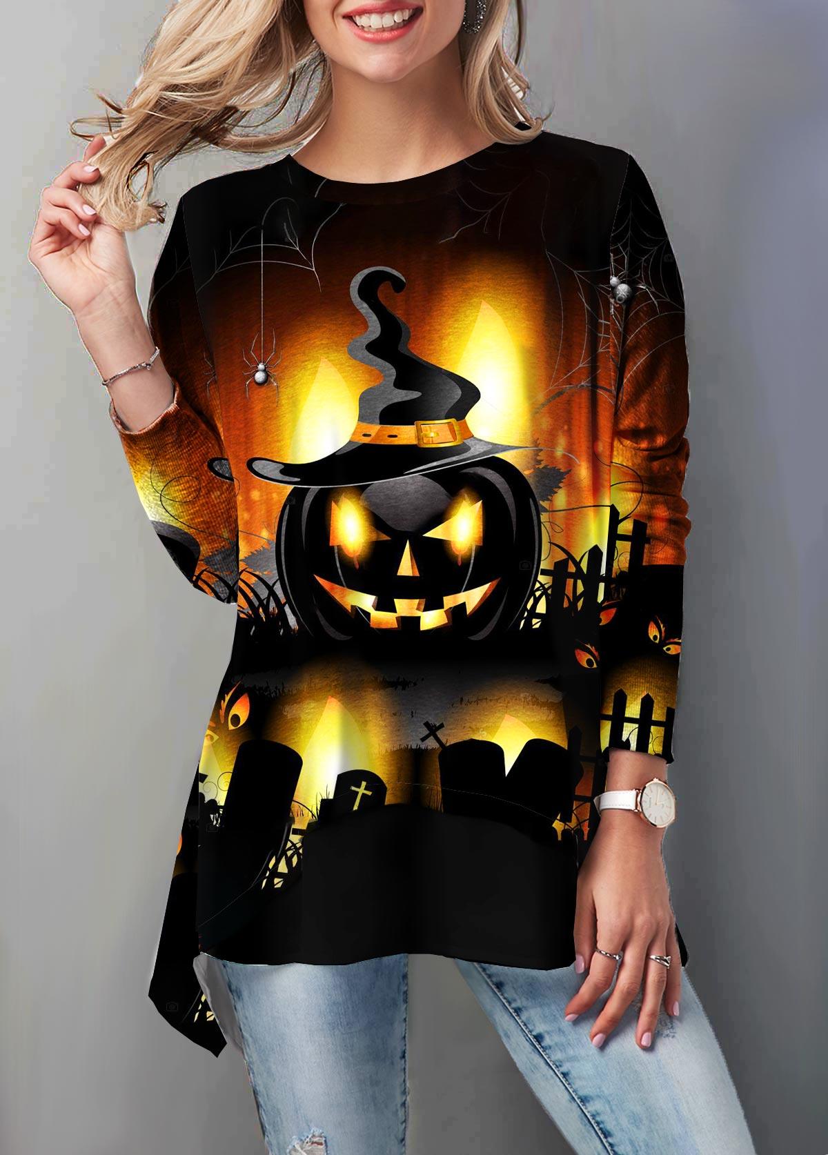 ROTITA Round Neck Halloween Pumpkin Print Tunic Top