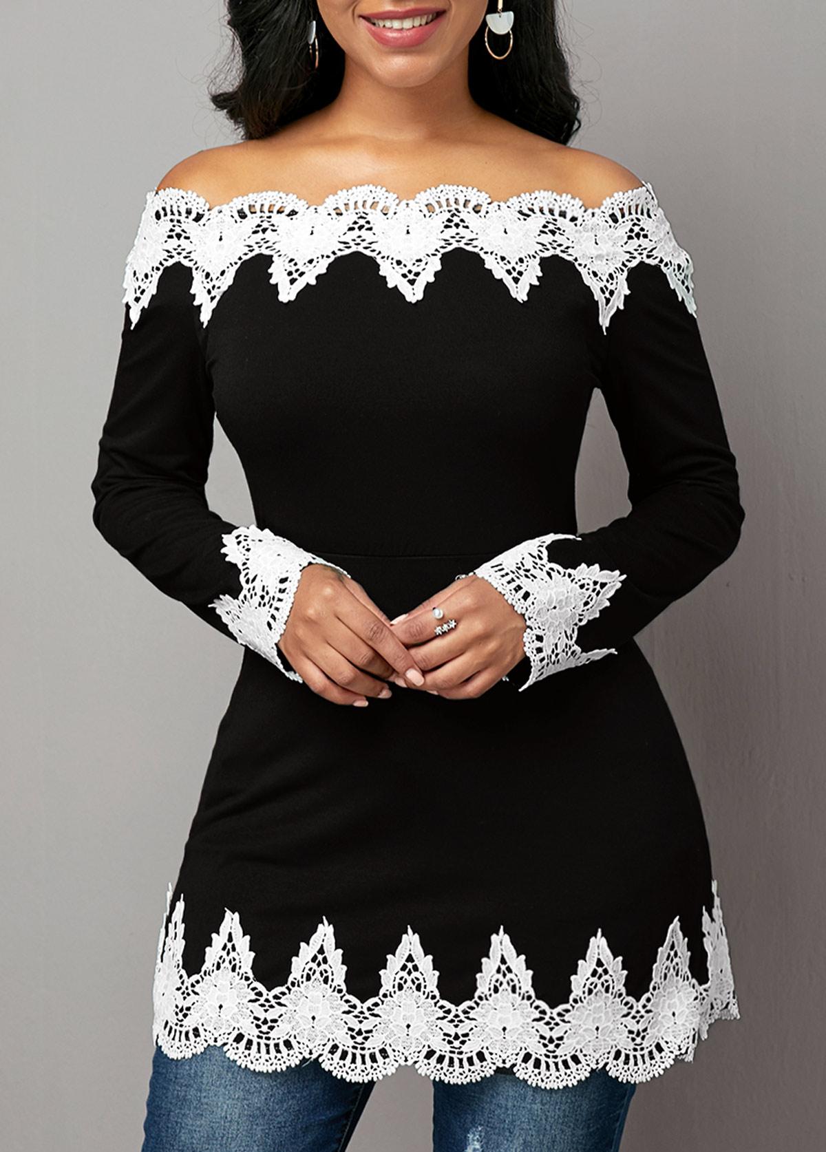Off the Shoulder Crochet Embellished T Shirt