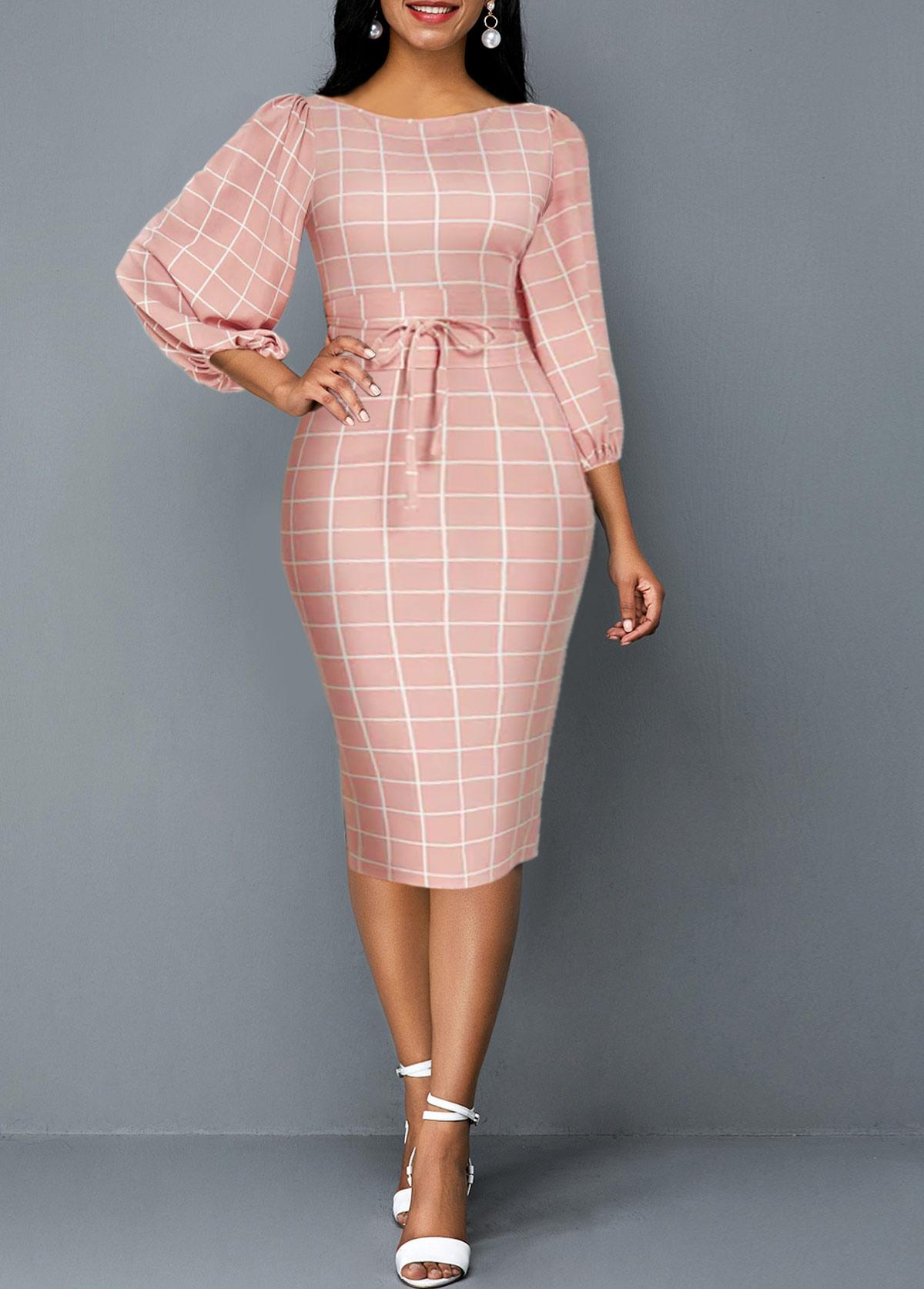 Plaid Print Lantern Sleeve Tie Front Sheath Dress