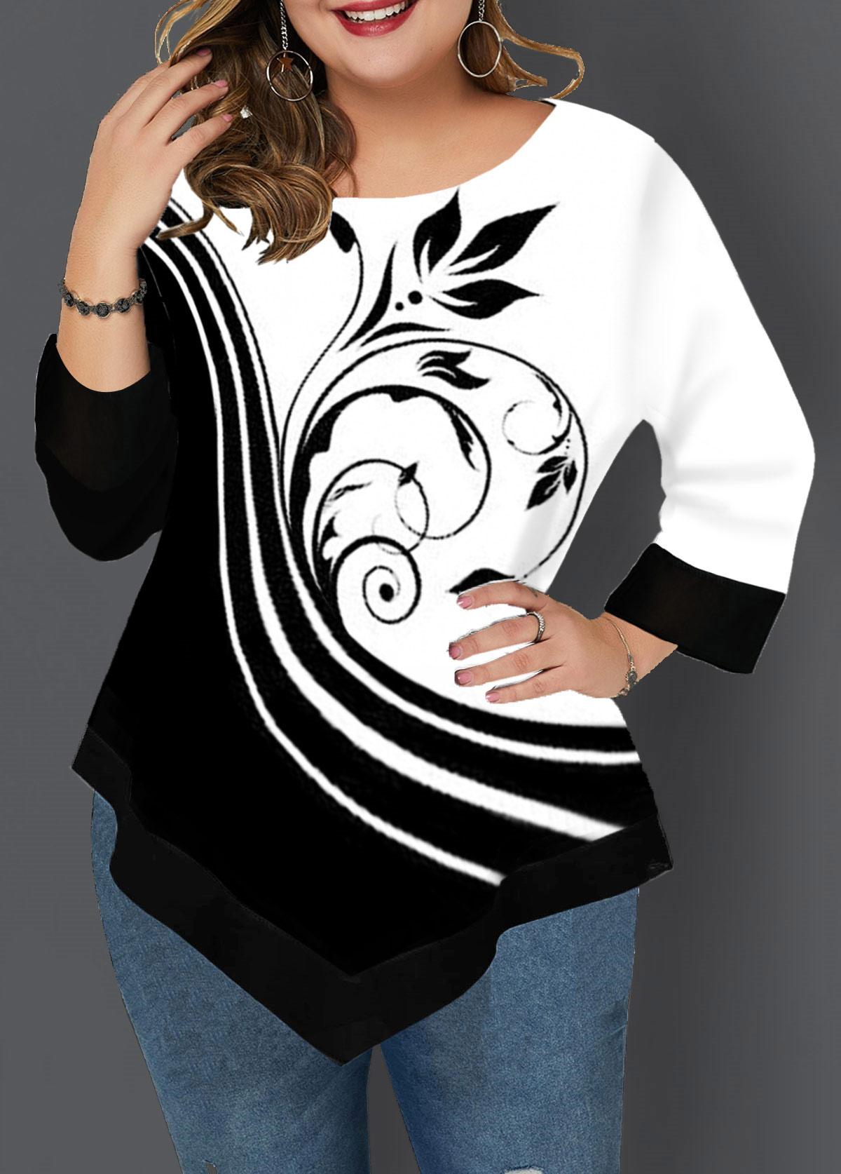 Plus Size Asymmetric Hem Printed T Shirt