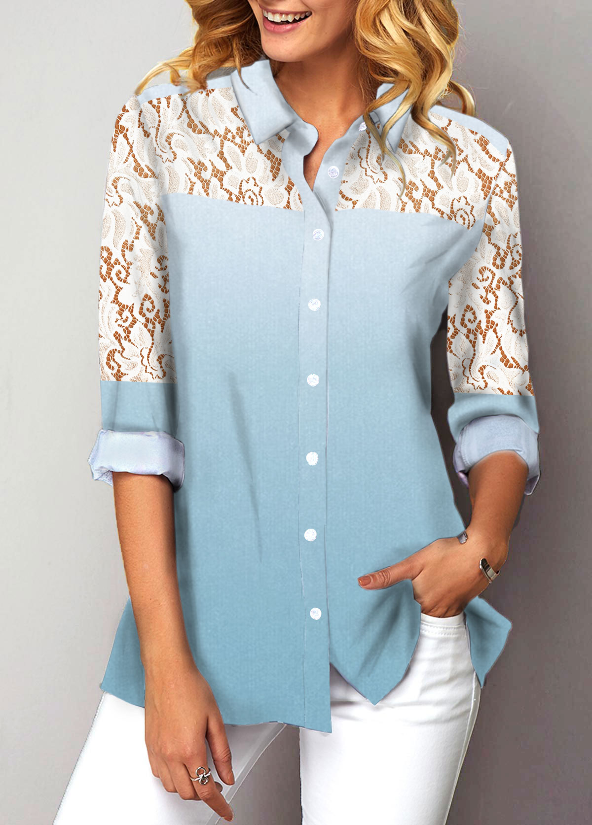 Gradient Lace Panel Button Up Shirt