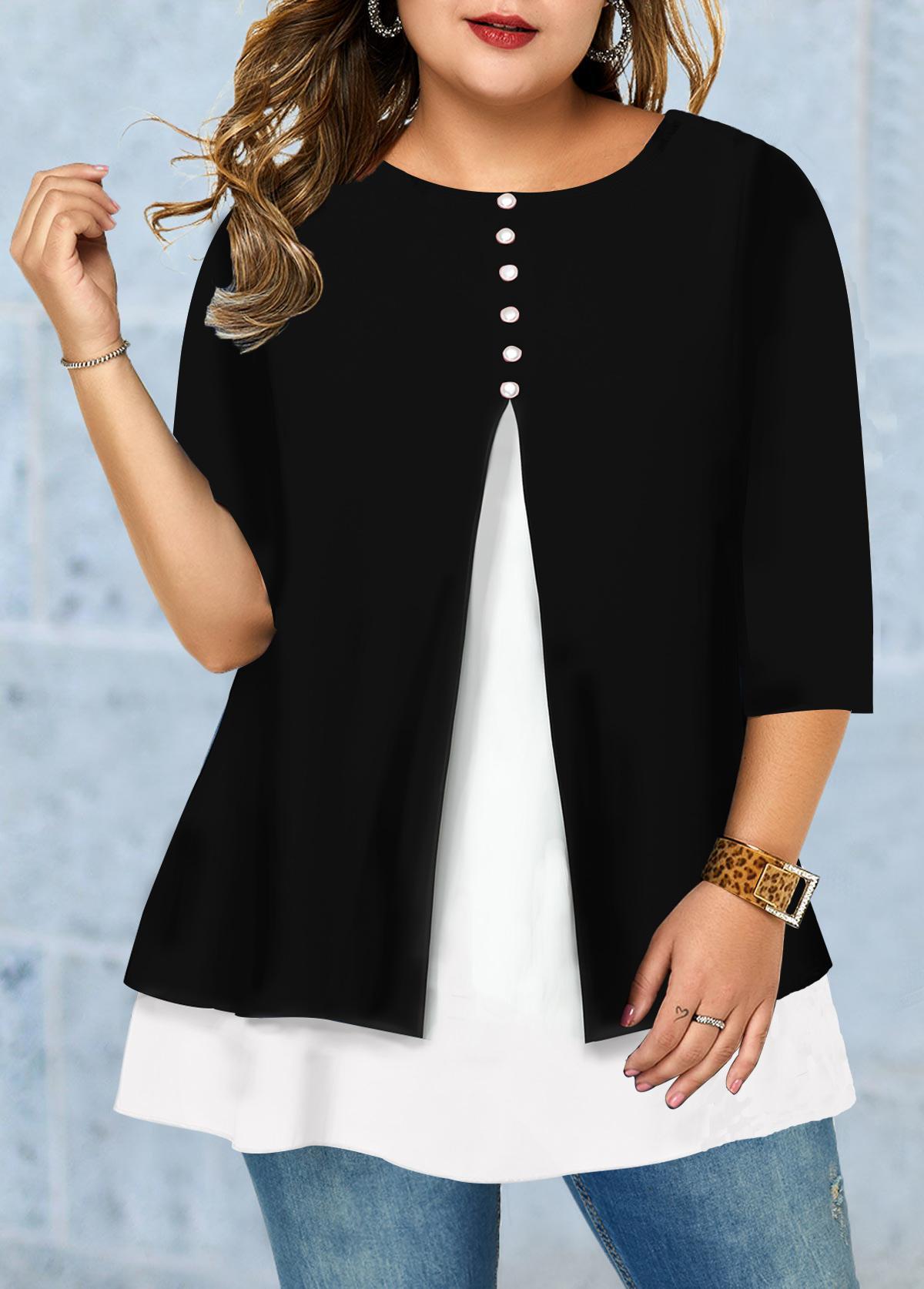 Button Detail Front Slit Plus Size T Shirt