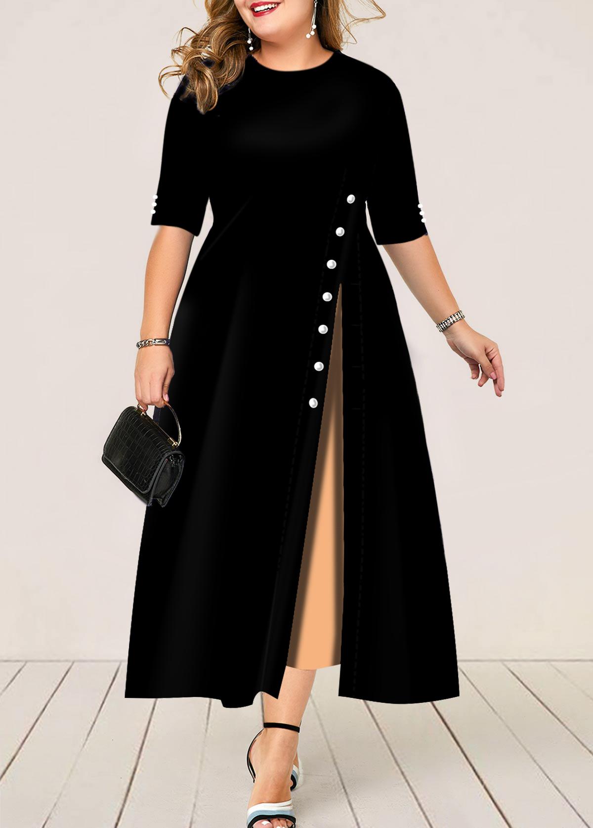 Plus Size Half Sleeve Button Detail Maxi Dress