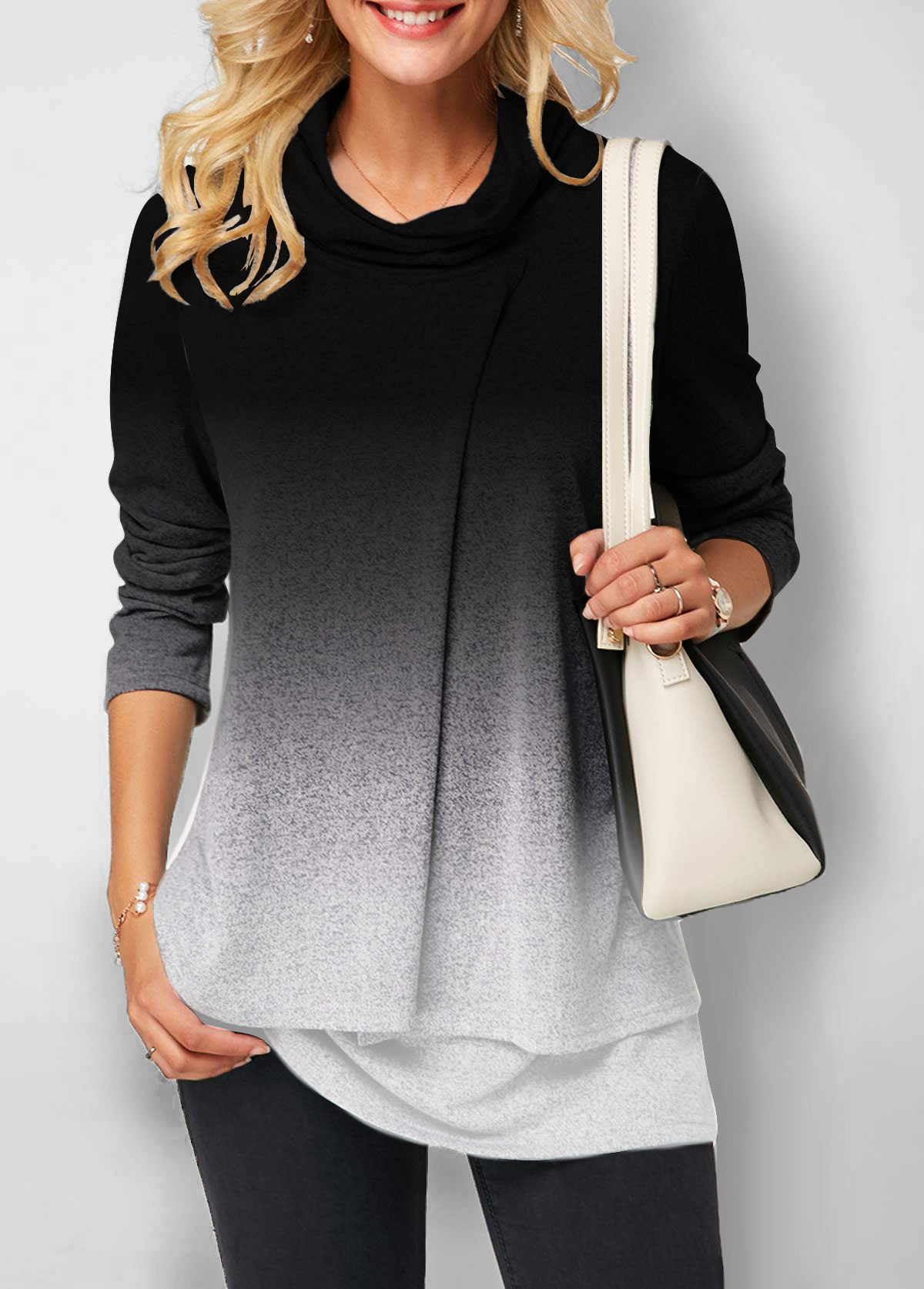 Cowl Neck Layered Hem Gradient Sweatshirt