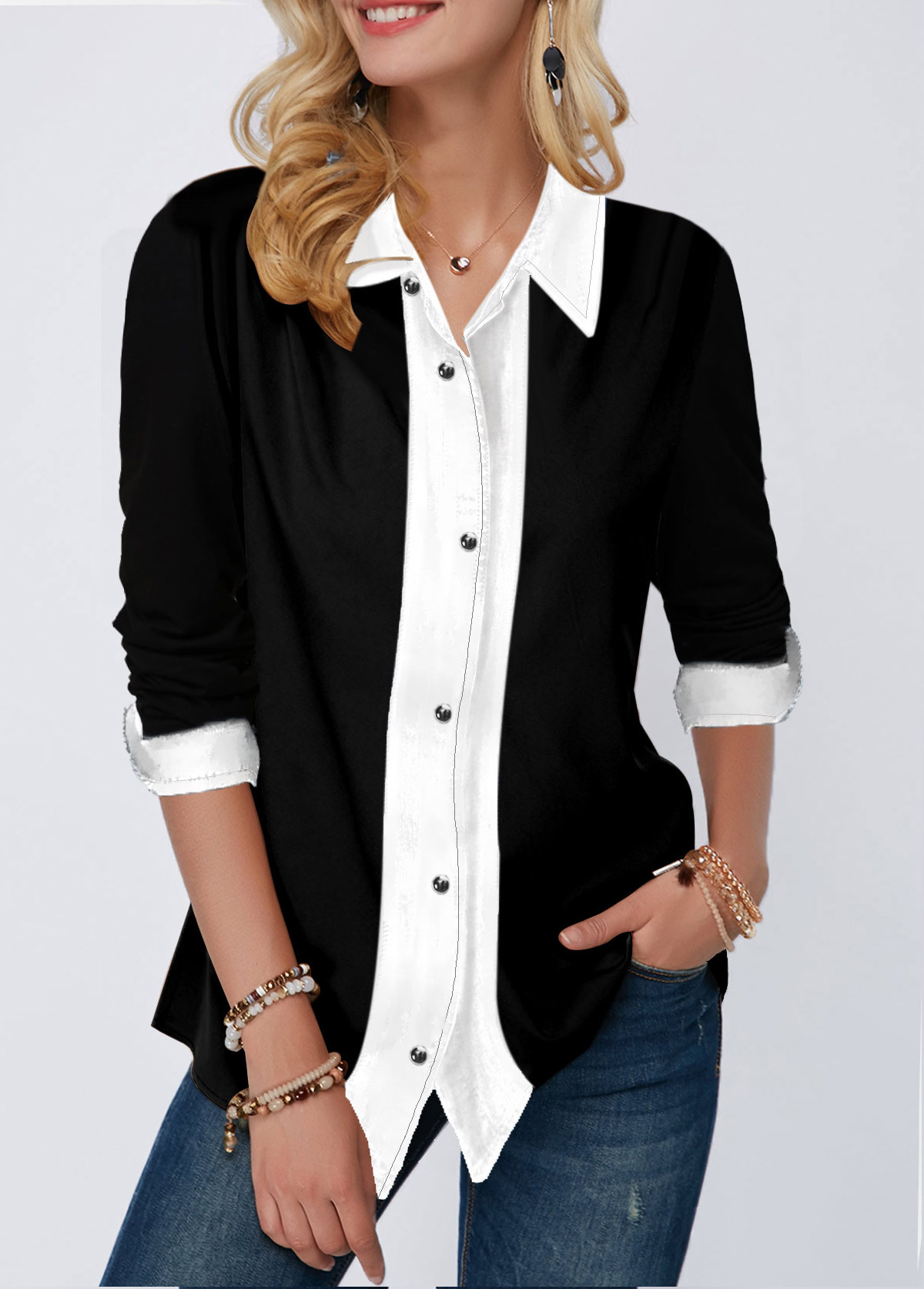 Button Up Contrast Panel Turndown Collar Shirt