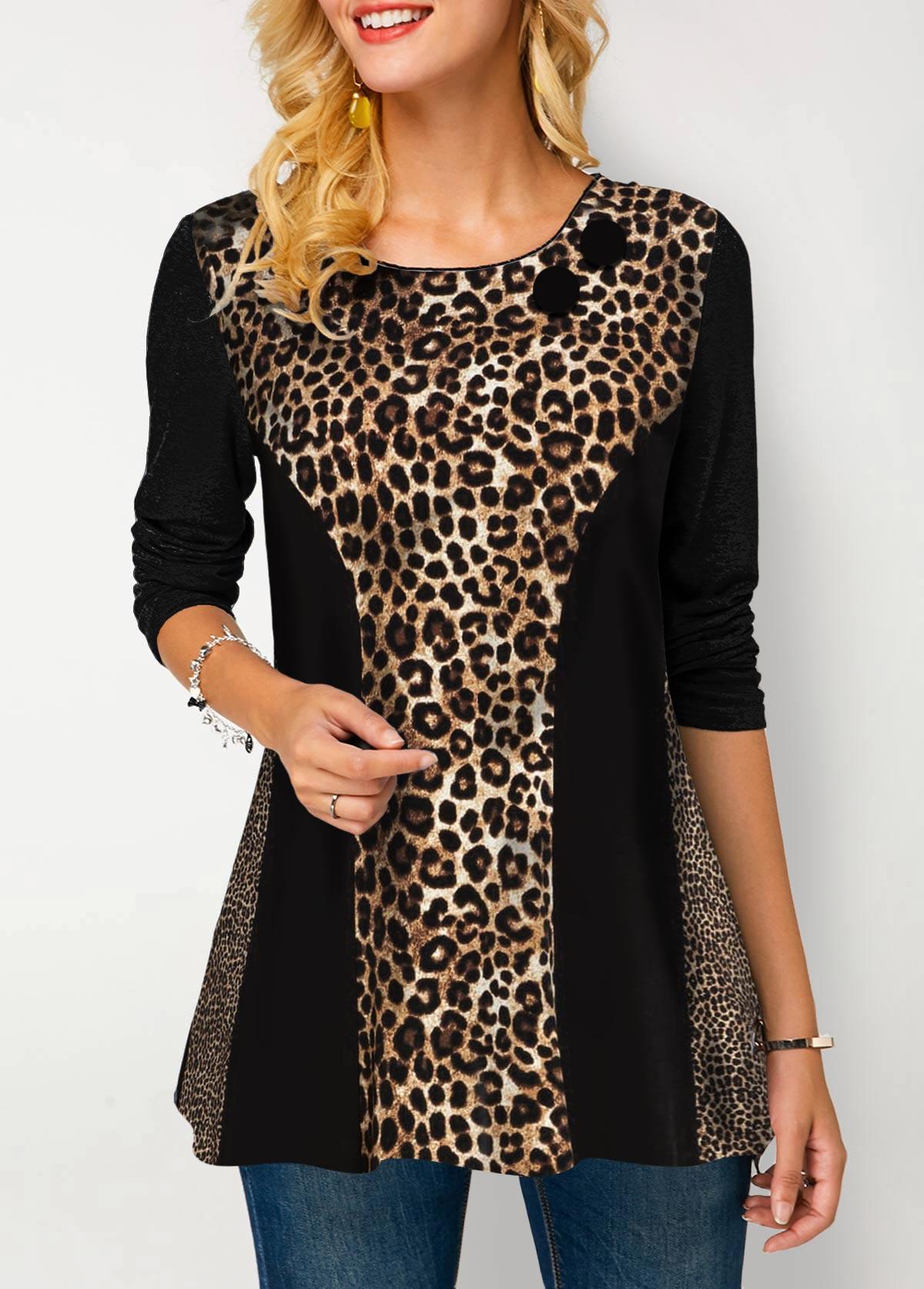 Round Neck Leopard Print Long Sleeve T Shirt