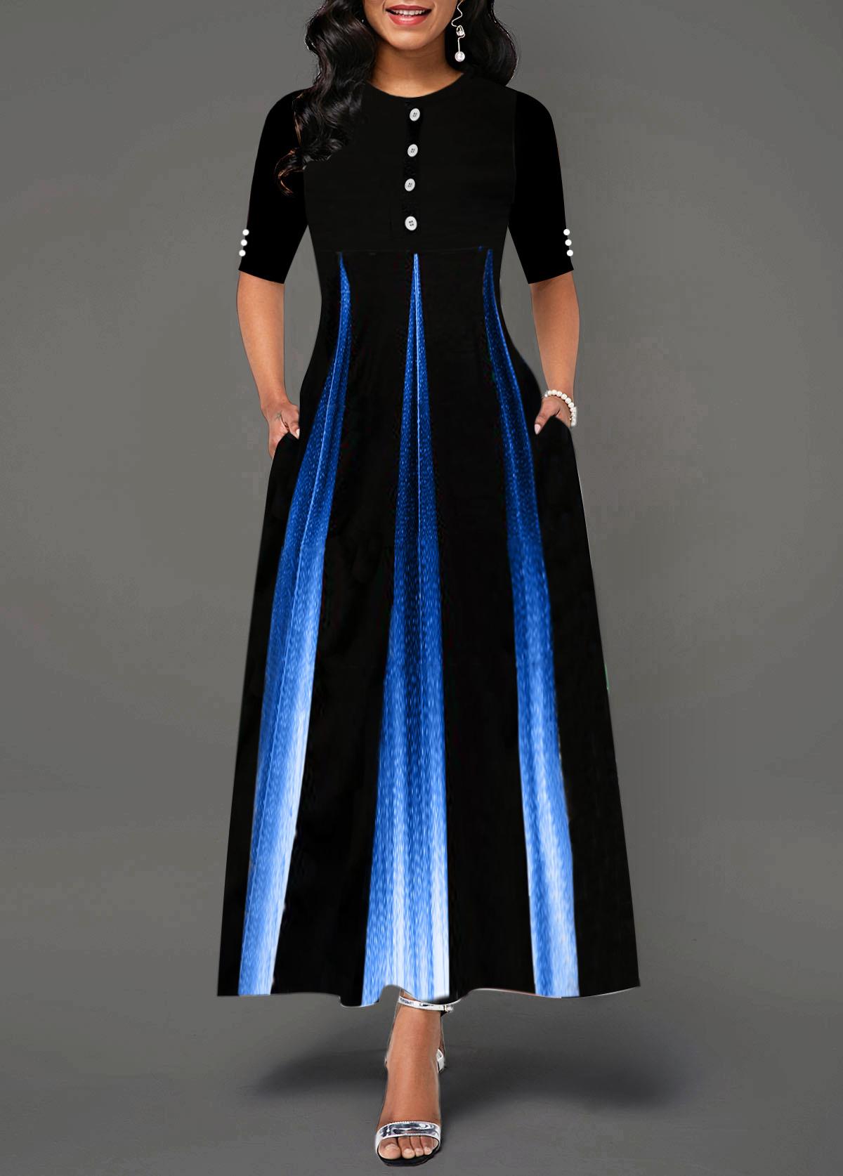 Button Detail Gradient Half Sleeve Maxi Dress