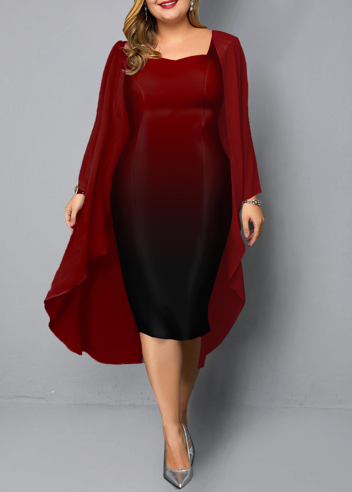 Chiffon Cardigan and Sleeveless Plus Size Dress