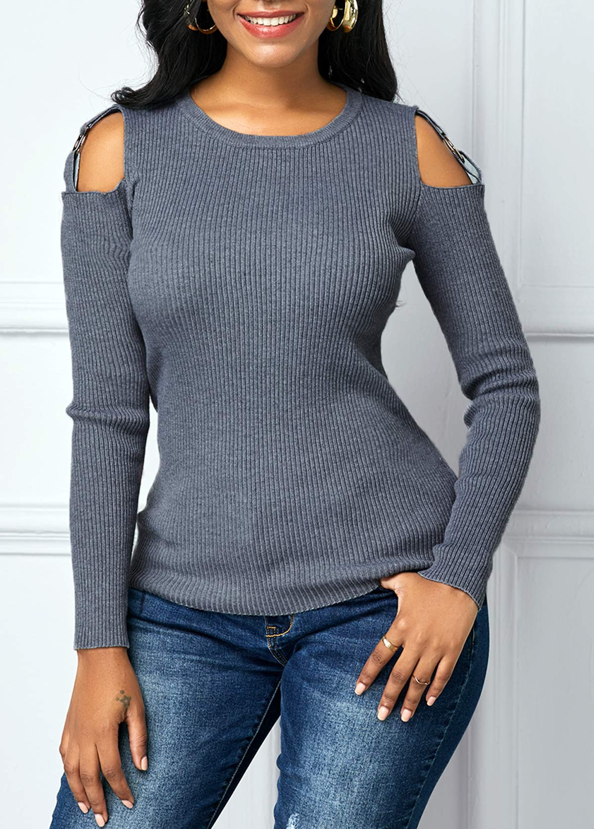 Round Neck Cutout Shoulder Long Sleeve Sweater