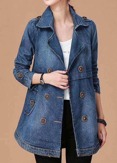 Long Sleeve Button Detail Pocket Denim Coat