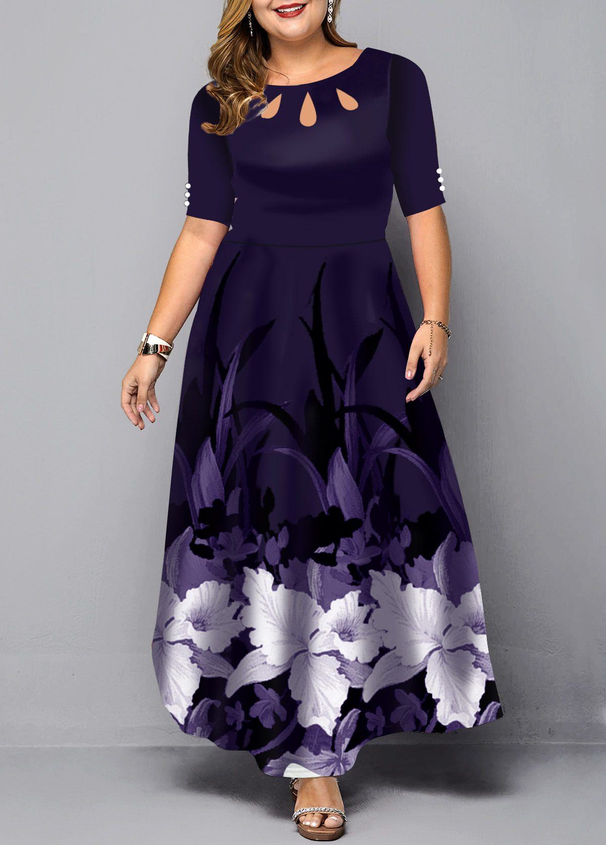 Large Floral Print Plus Size Maxi Dress