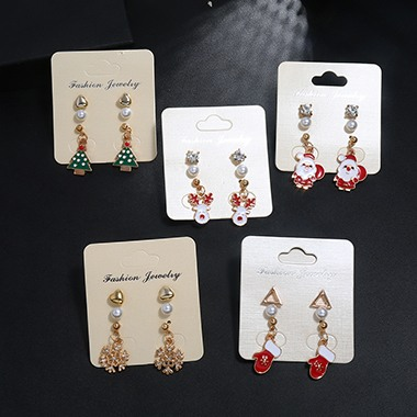 Gold Metal Pearl Embellished Christmas Tree Shape Earring Set