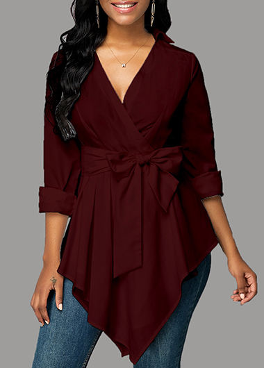 Tie Front V Neck Long Sleeve Blouse