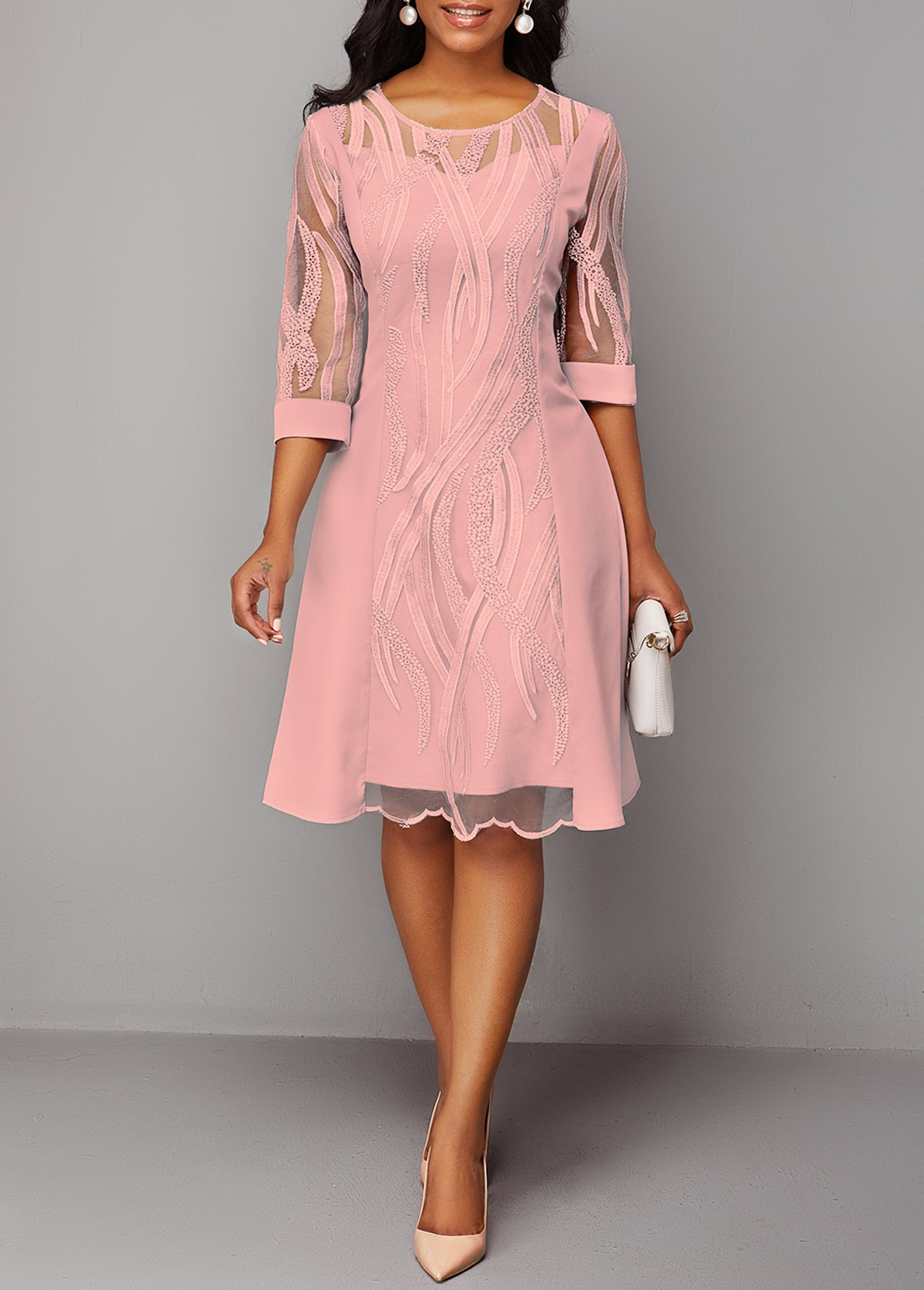 Round Neck Three Quarter Sleeve Pink Lace Dress