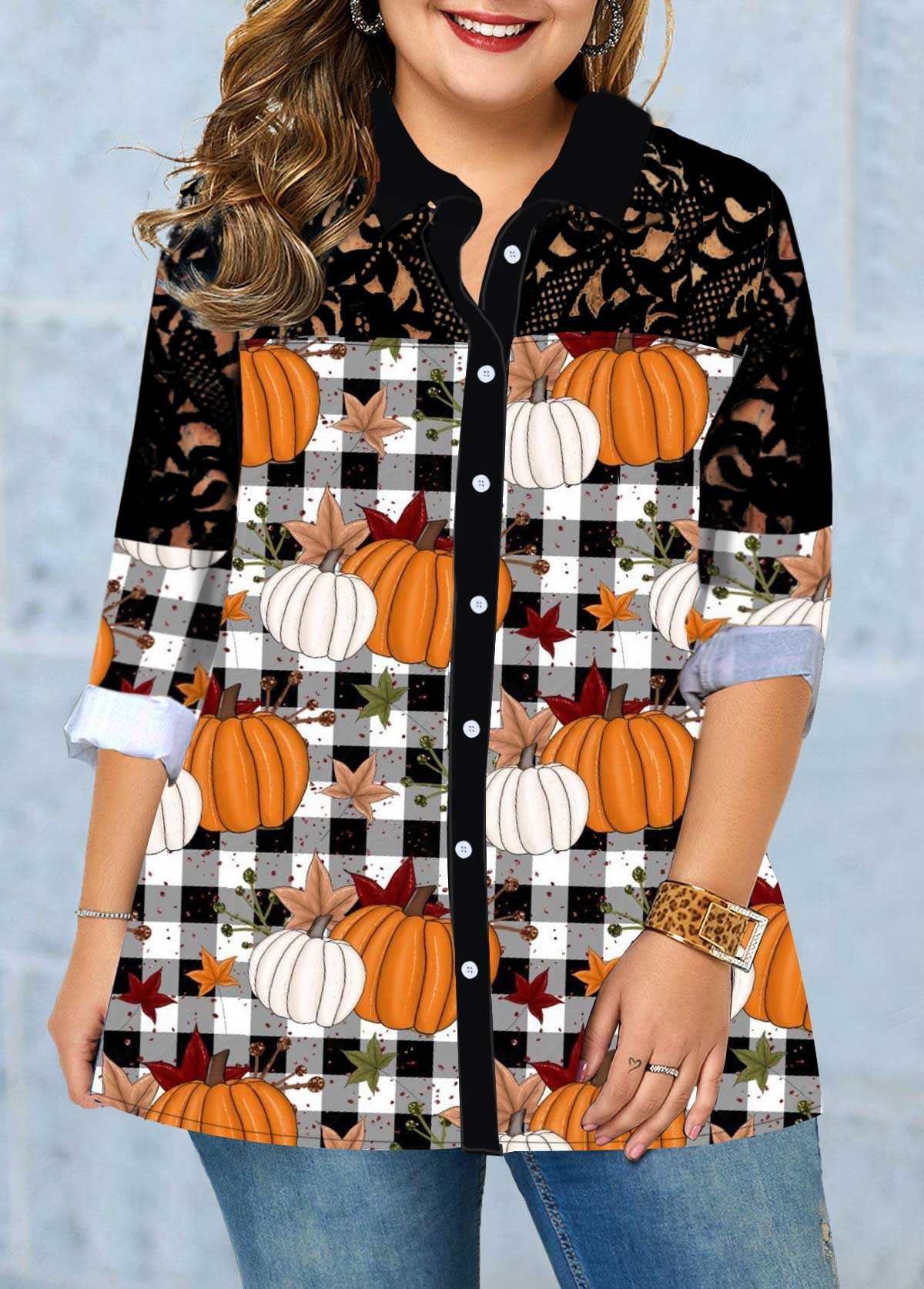 ROTITA Button Up Plus Size Long Sleeve Blouse