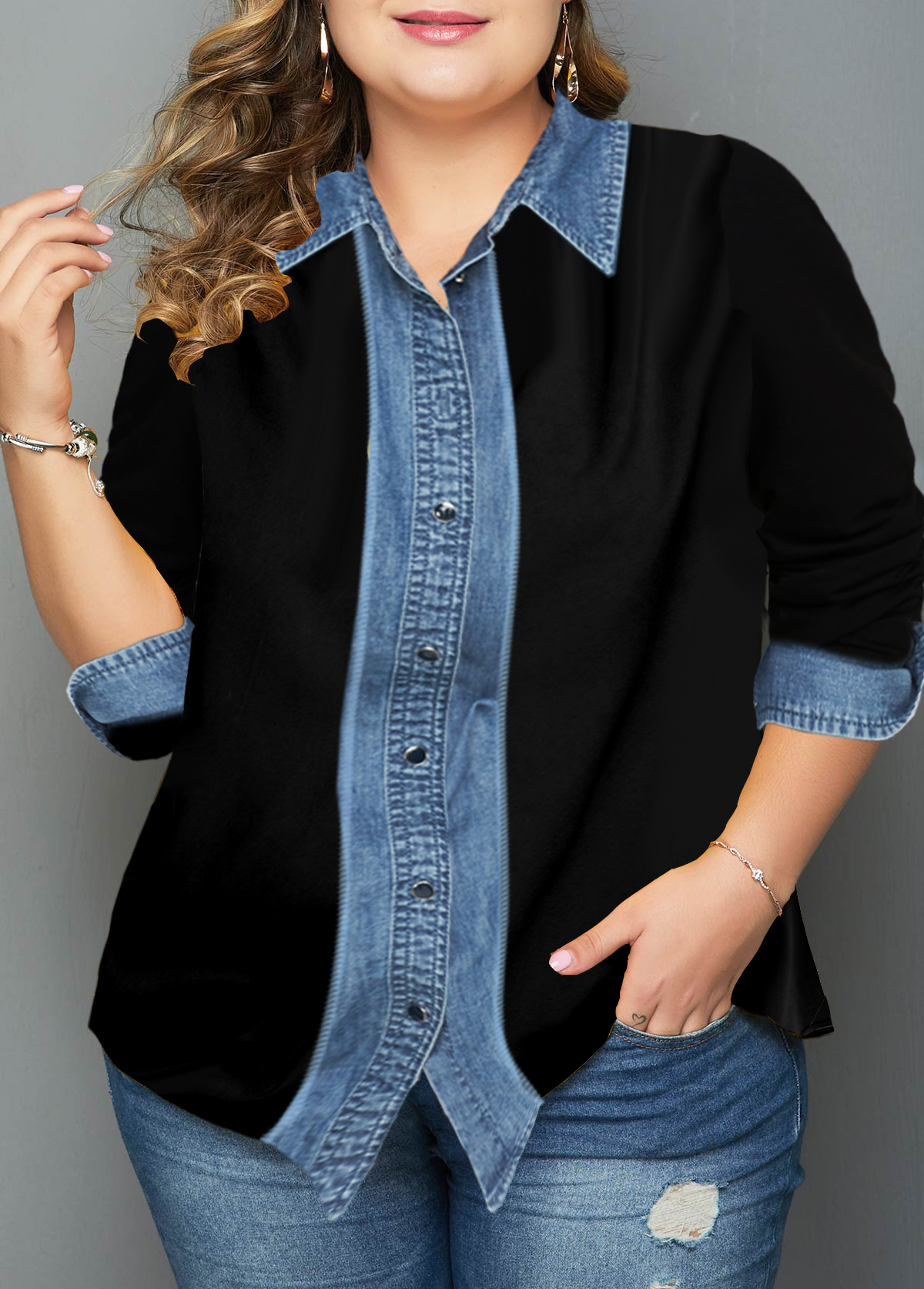 ROTITA Turndown Collar Button Up Plus Size Shirt