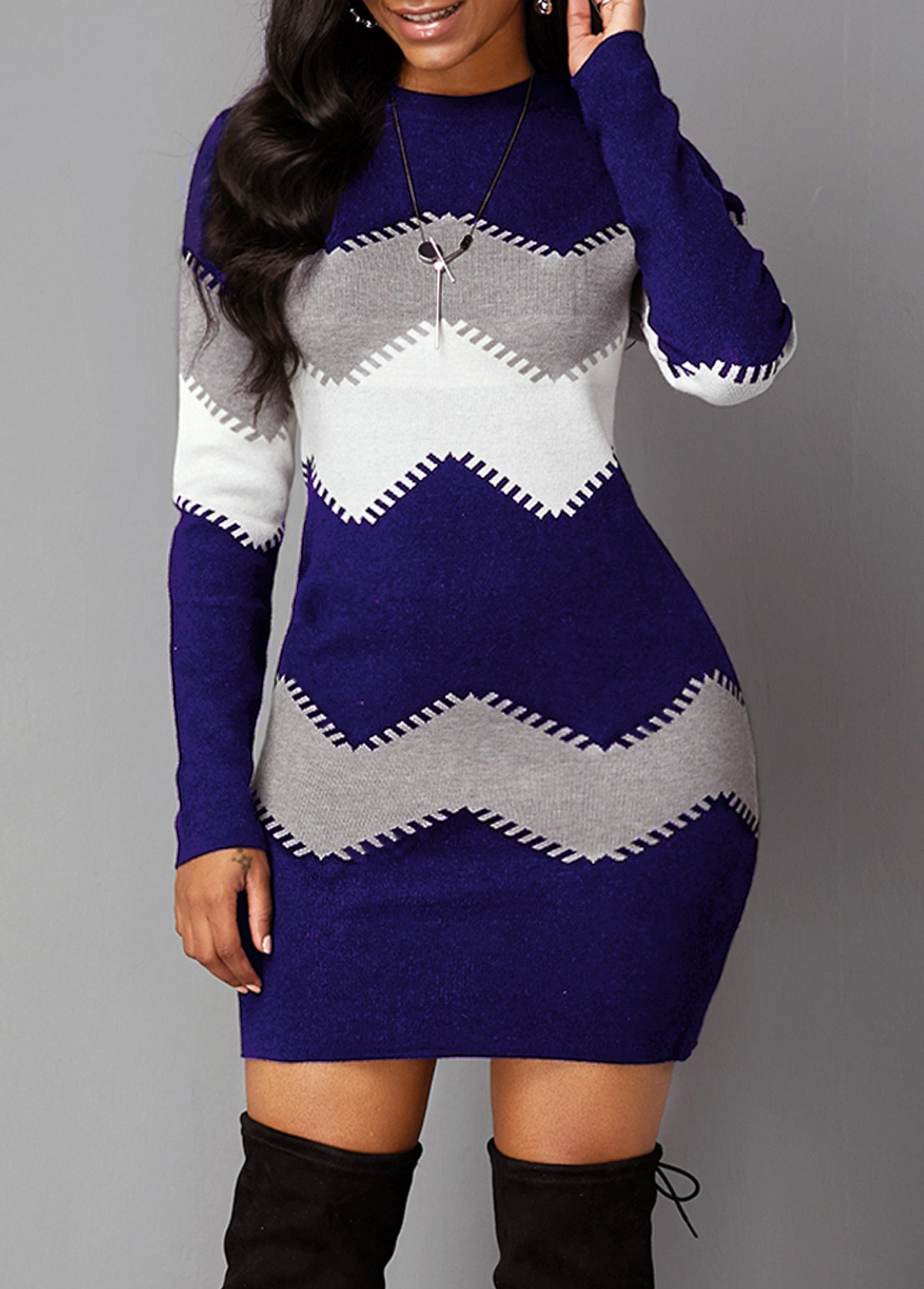Long Sleeve Chevron Pattern Mock Neck Sweater Dress