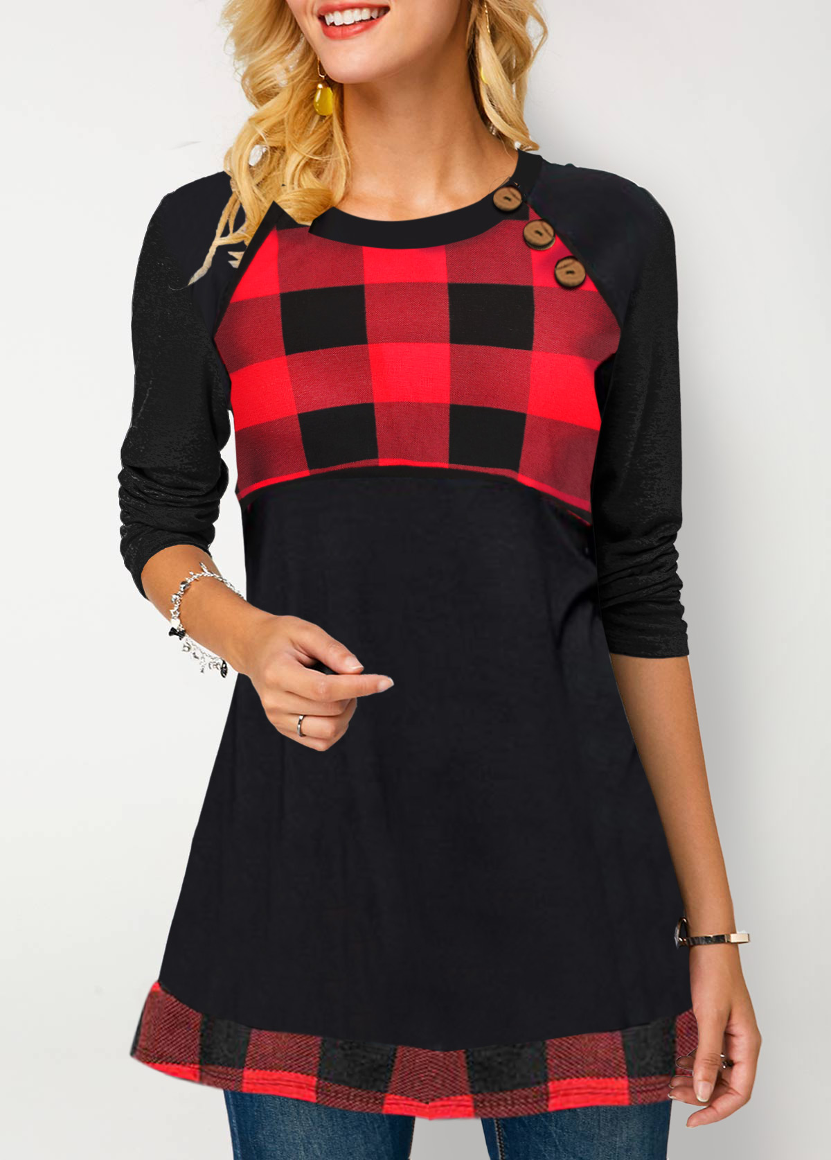 ROTITA Plaid Print Long Sleeve Button Detail T Shirt