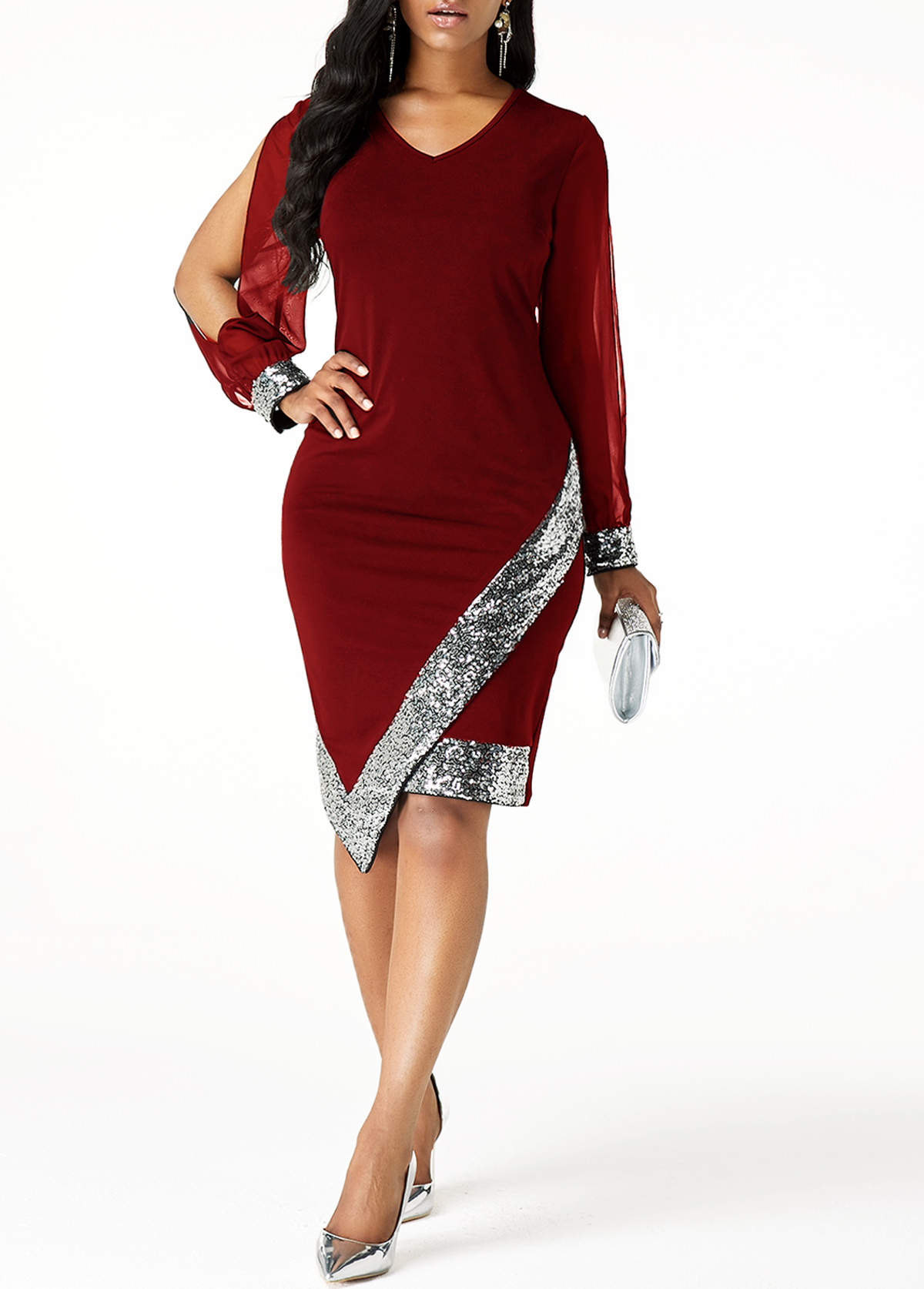 Sequin Panel Asymmetric Hem Cutout Sleeve Sheath Dress