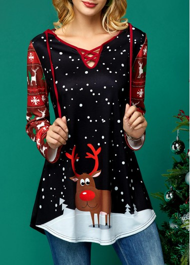 Christmas | Sleeve | Hoody | Print | Neck | Long | Lace | Up