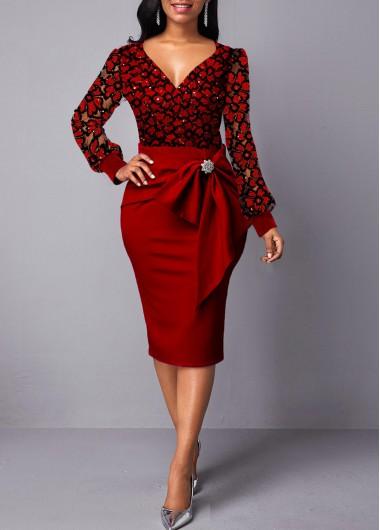 Back Slit Lace Panel Bowknot Embellished Dress