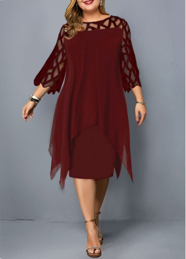 Wine Red Plus Size Three Quarter Sleeve Dress
