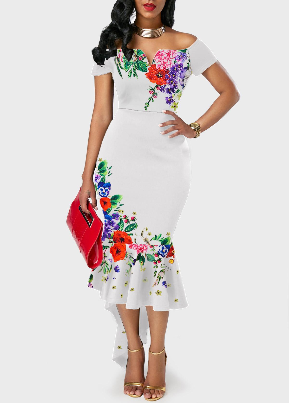Ruffle Hem Flower Print White Off the Shoulder Dress
