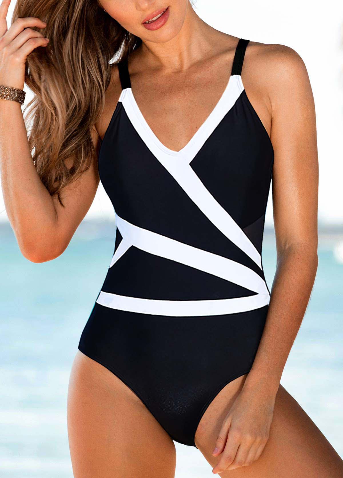 ROTITA Spaghetti Strap V Neck One Piece Swimwear