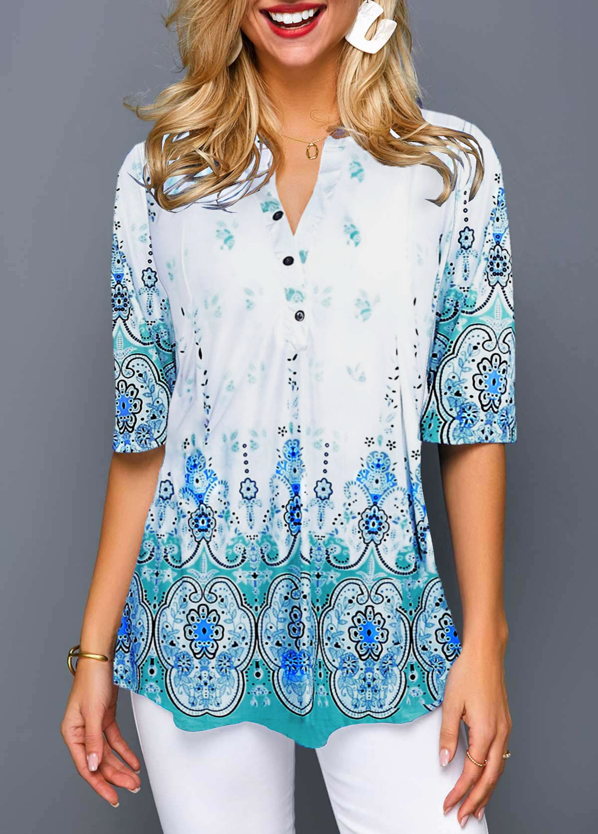 Tribal Print Split Neck Button Front Blouse