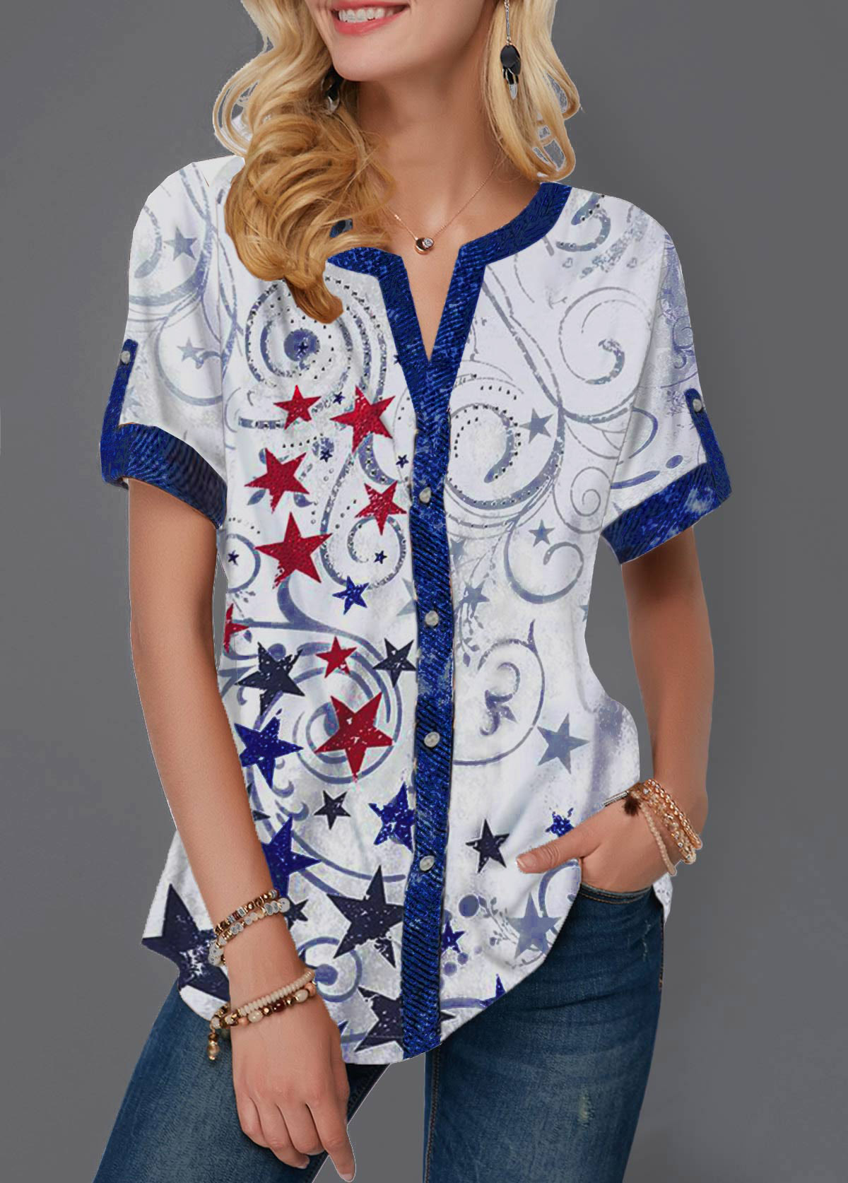 ROTITA American Flag Print Split Neck Star Print Blouse
