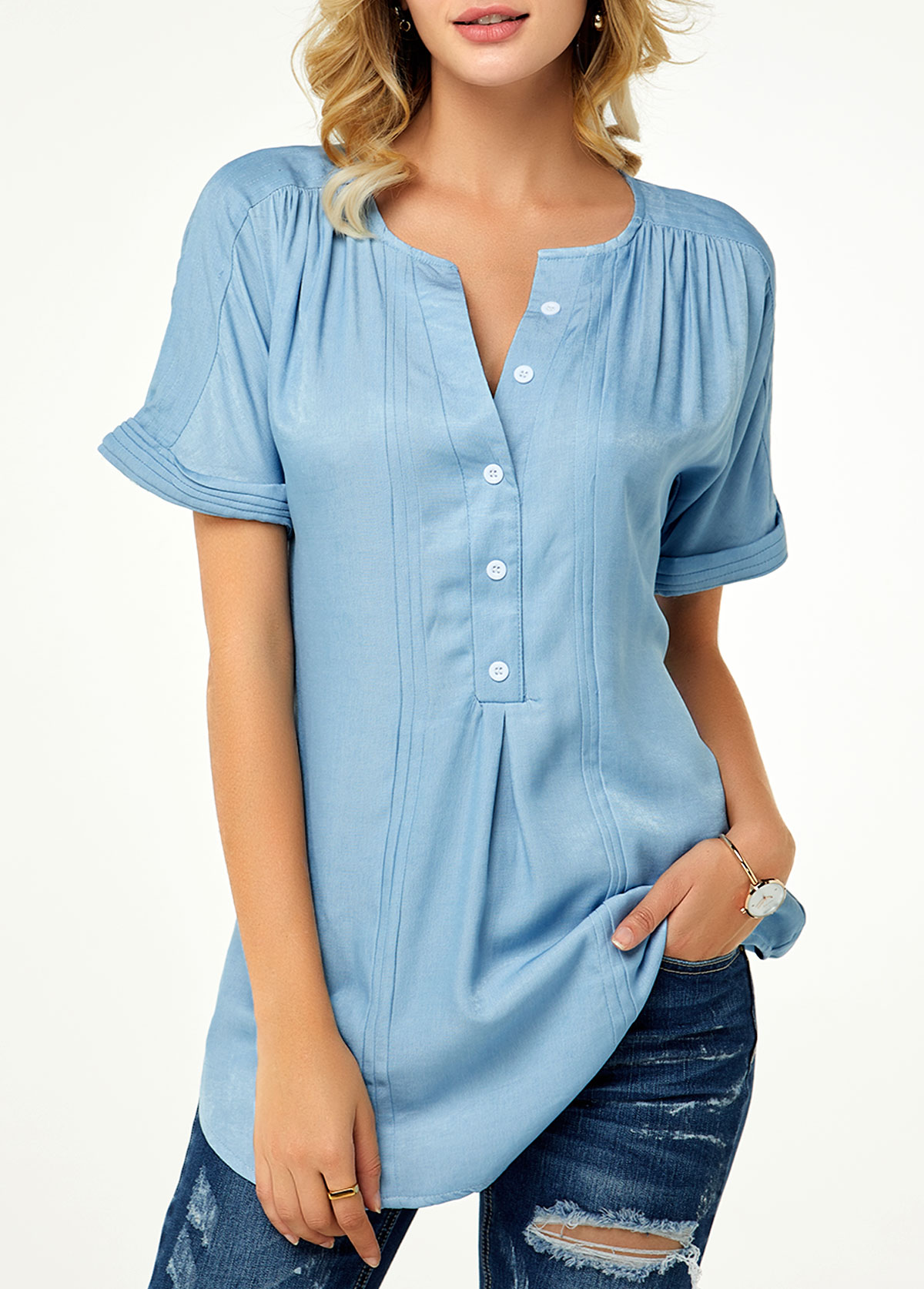 ROTITA Roll Sleeve Button Front Split Neck Denim Blouse