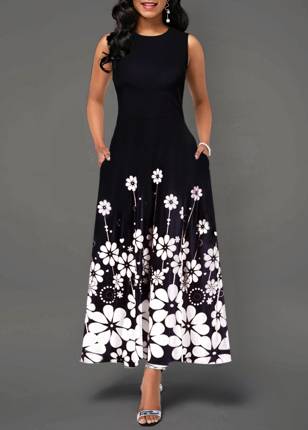 Flower Print Round Neck Sleeveless Maxi Dress
