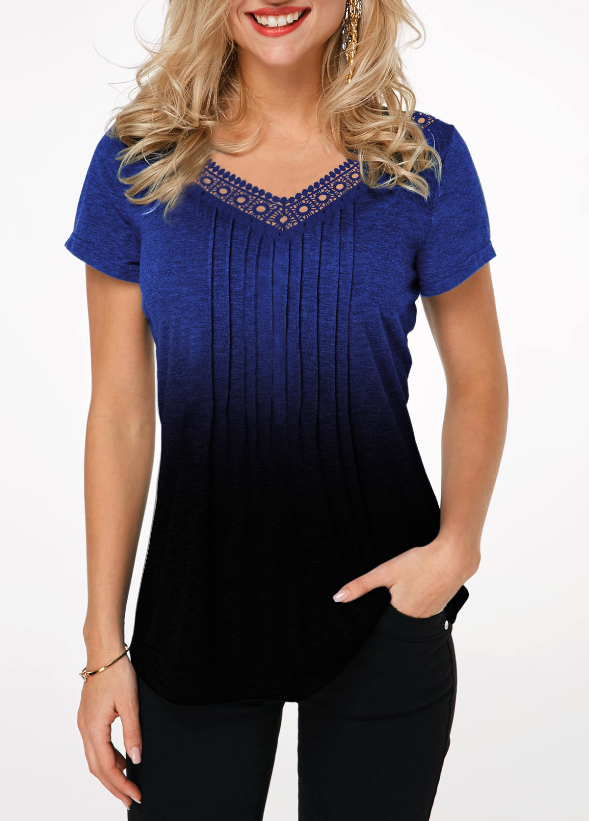 Lace Patchwork Short Sleeve Crinkle Chest Gradient T Shirt