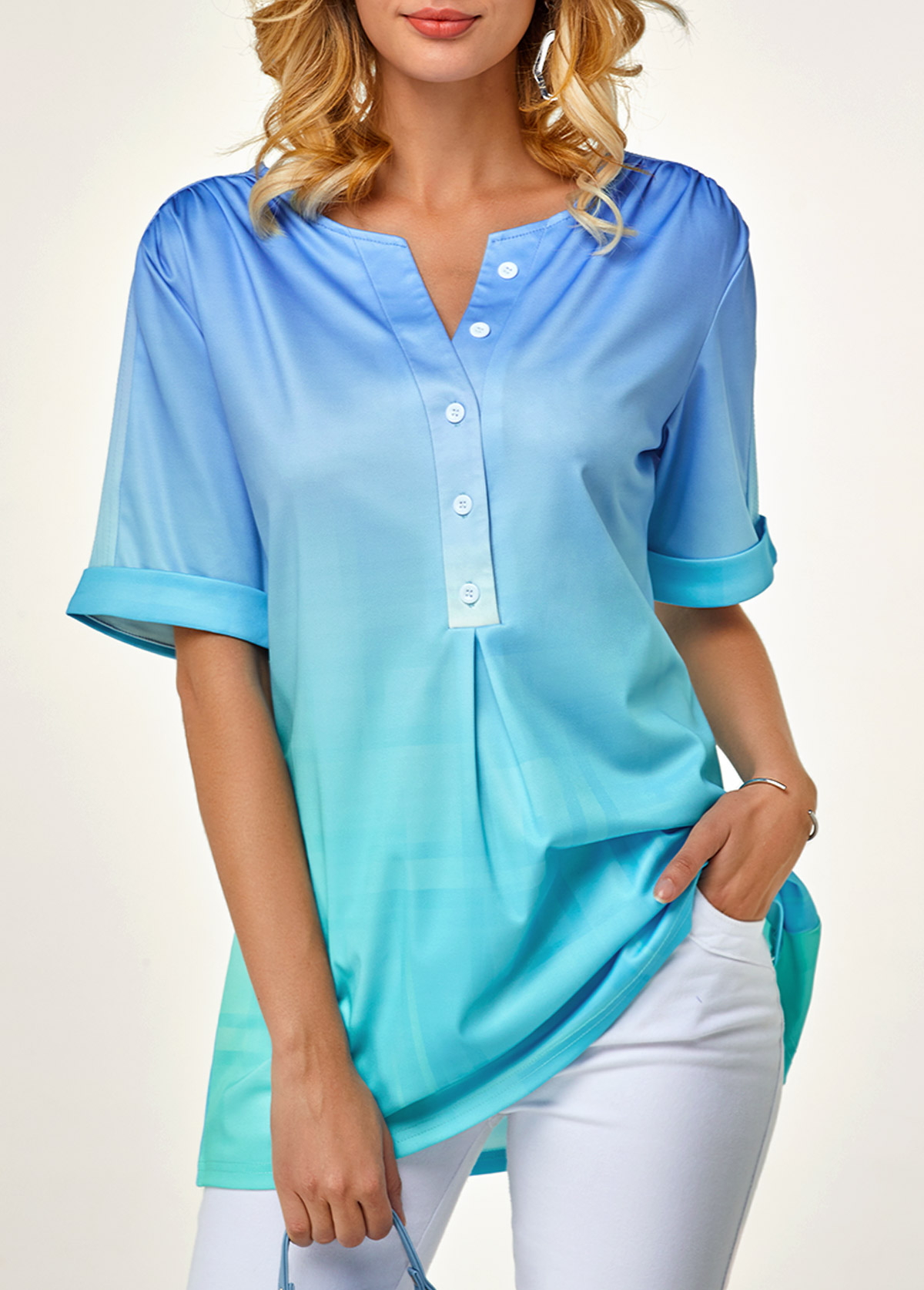 ROTITA Short Sleeve Button Front Curved Hem Blouse