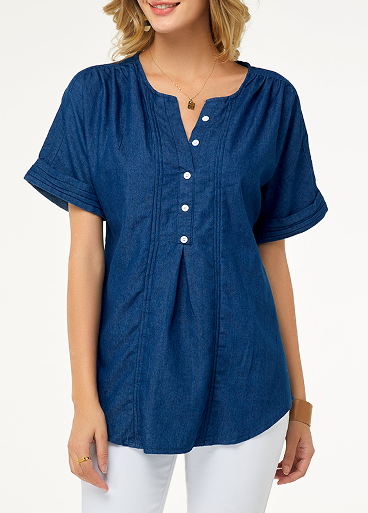 ROTITA Split Neck Short Sleeve Button Detail Denim Blouse