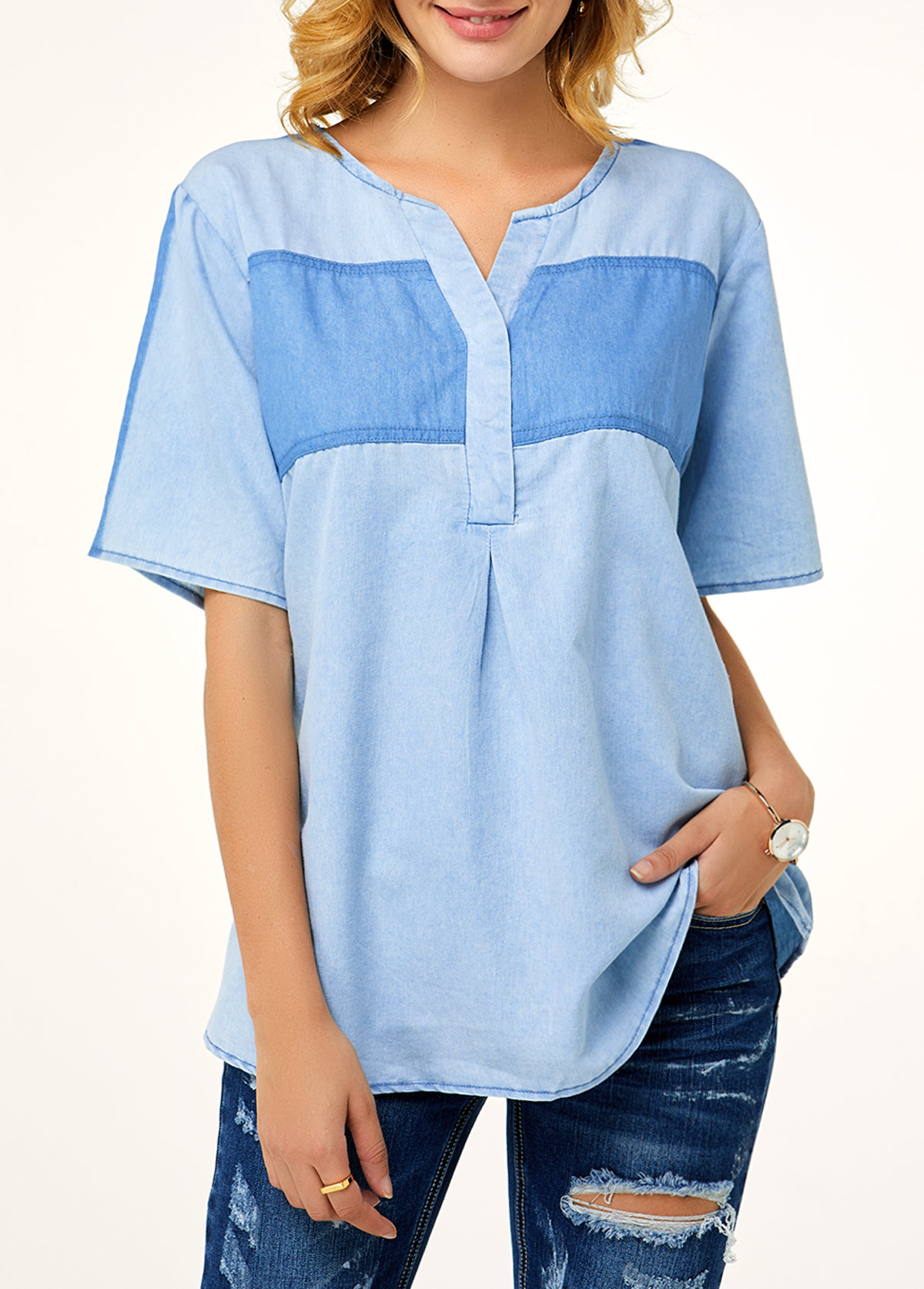 ROTITA Split Neck Denim Blue Short Sleeve Blouse