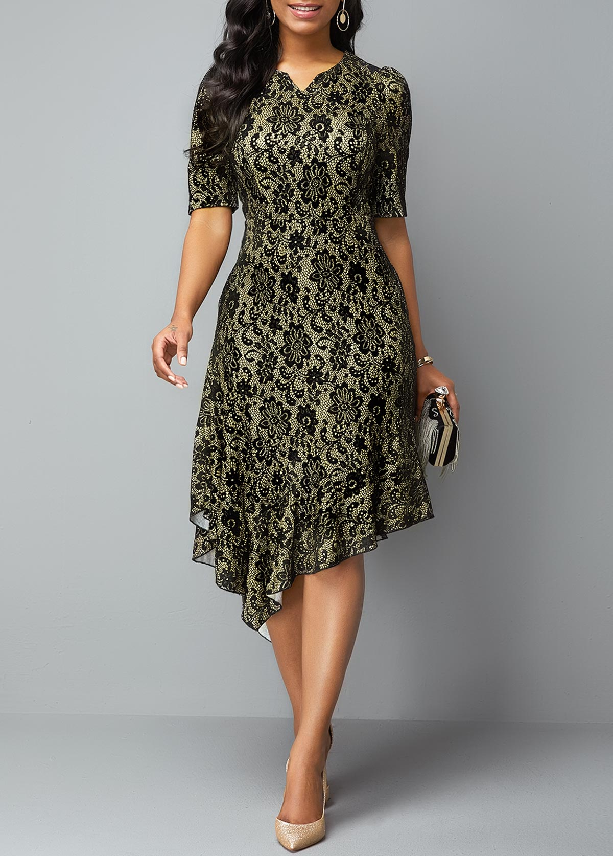 Half Sleeve Split Neck Asymmetric Hem Lace Dress