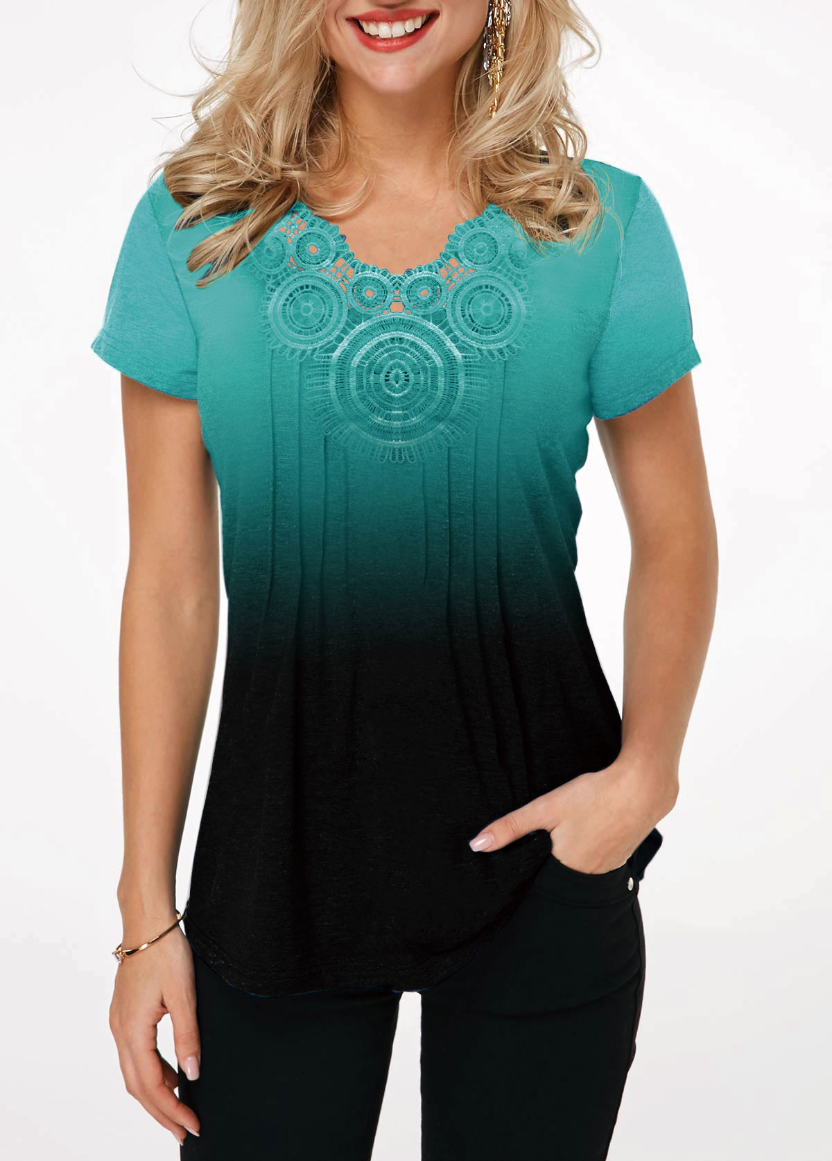 Lace Panel Short Sleeve Cyan Gradient T Shirt