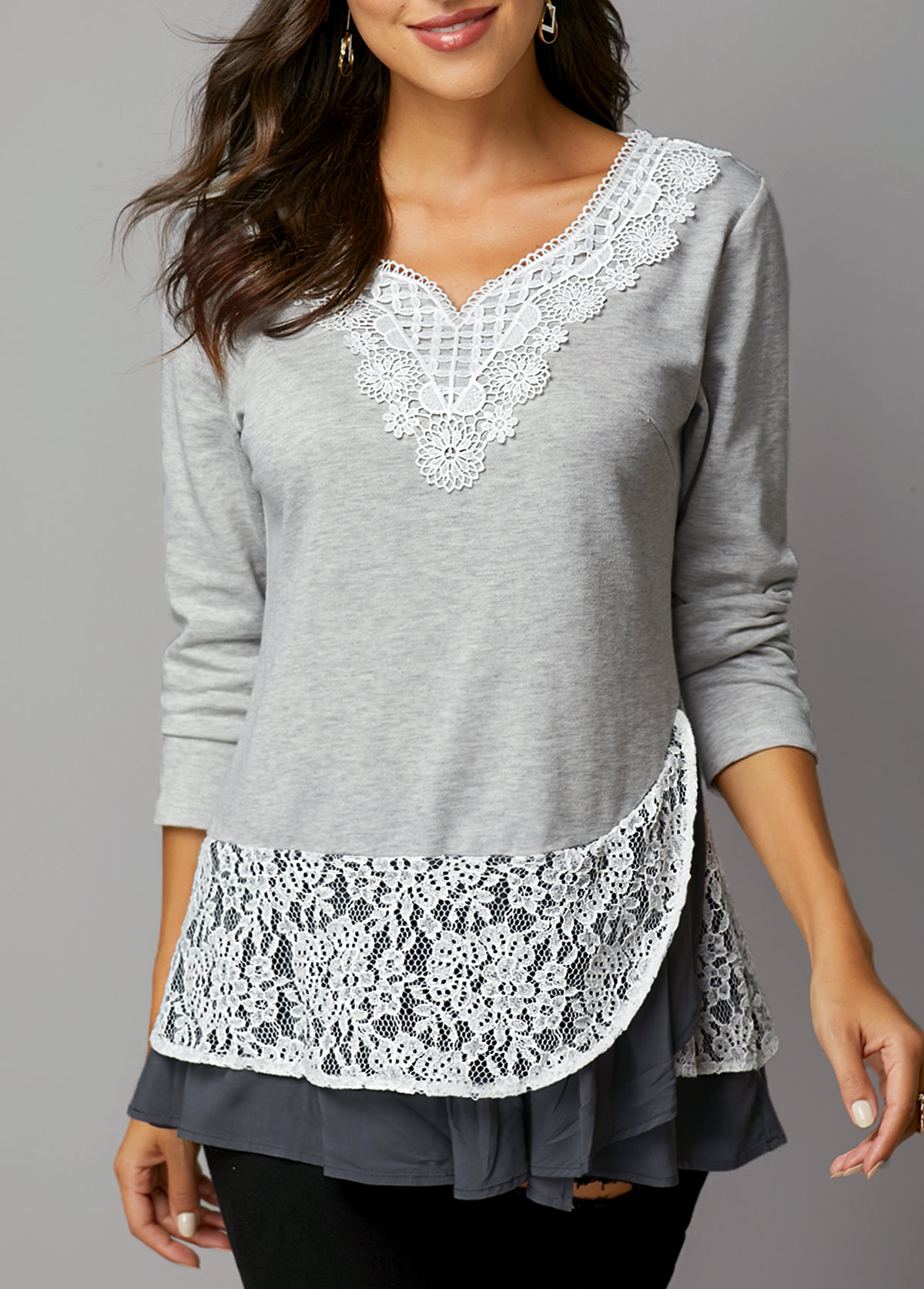 Lace Panel Light Grey Layered Hem T Shirt