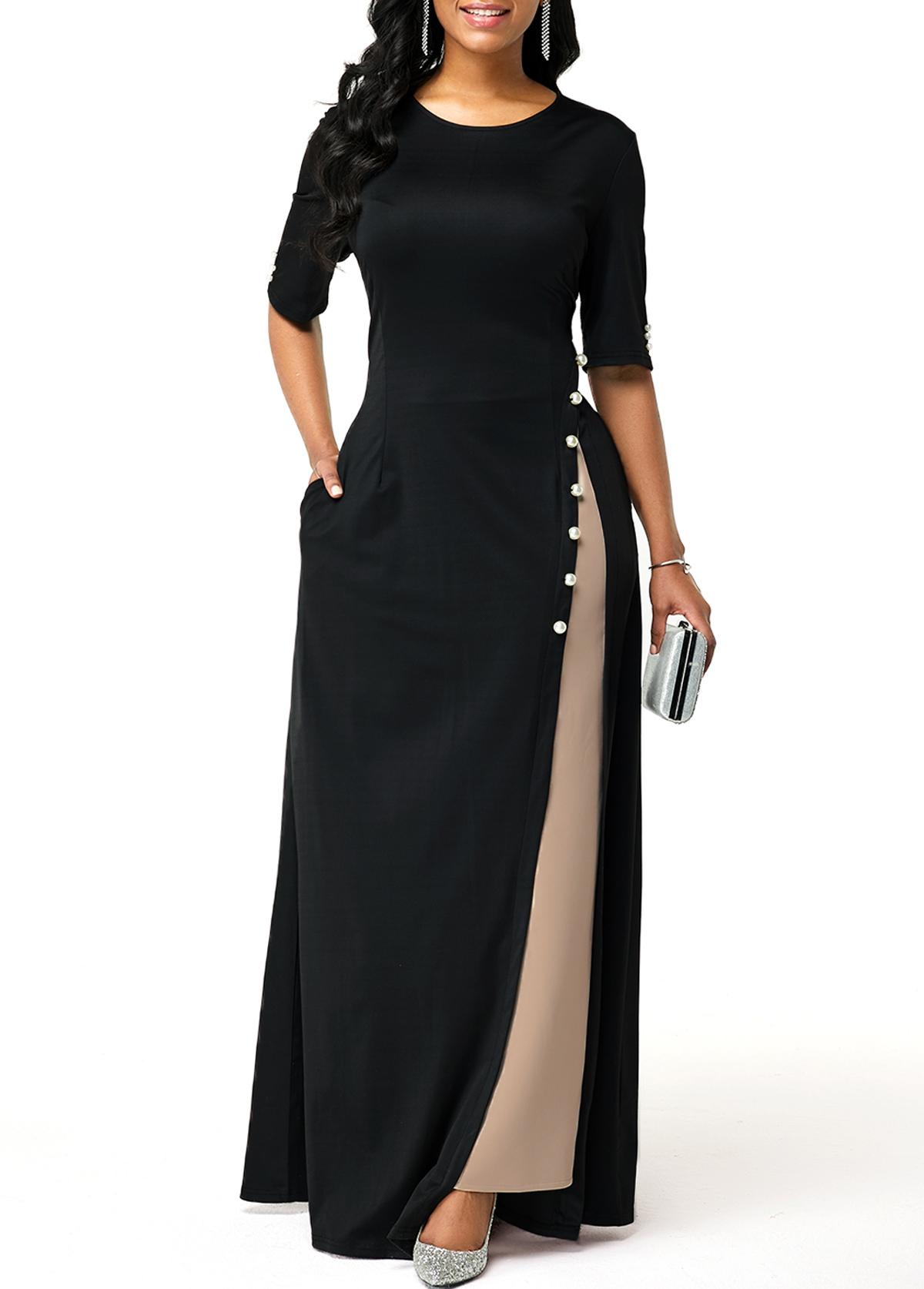 Side Slit Half Sleeve Button Detail Maxi Dress