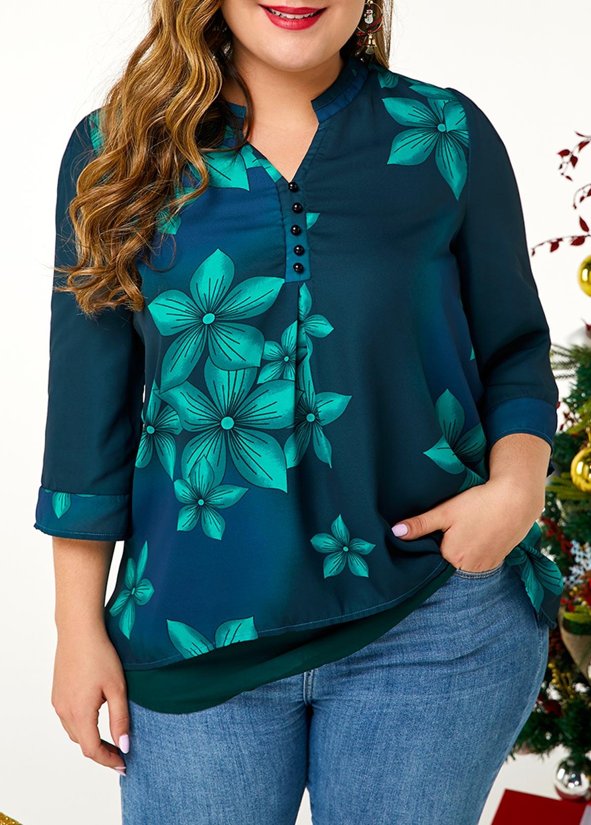 ROTITA Plus Size Button Detail Large Floral Print Blouse