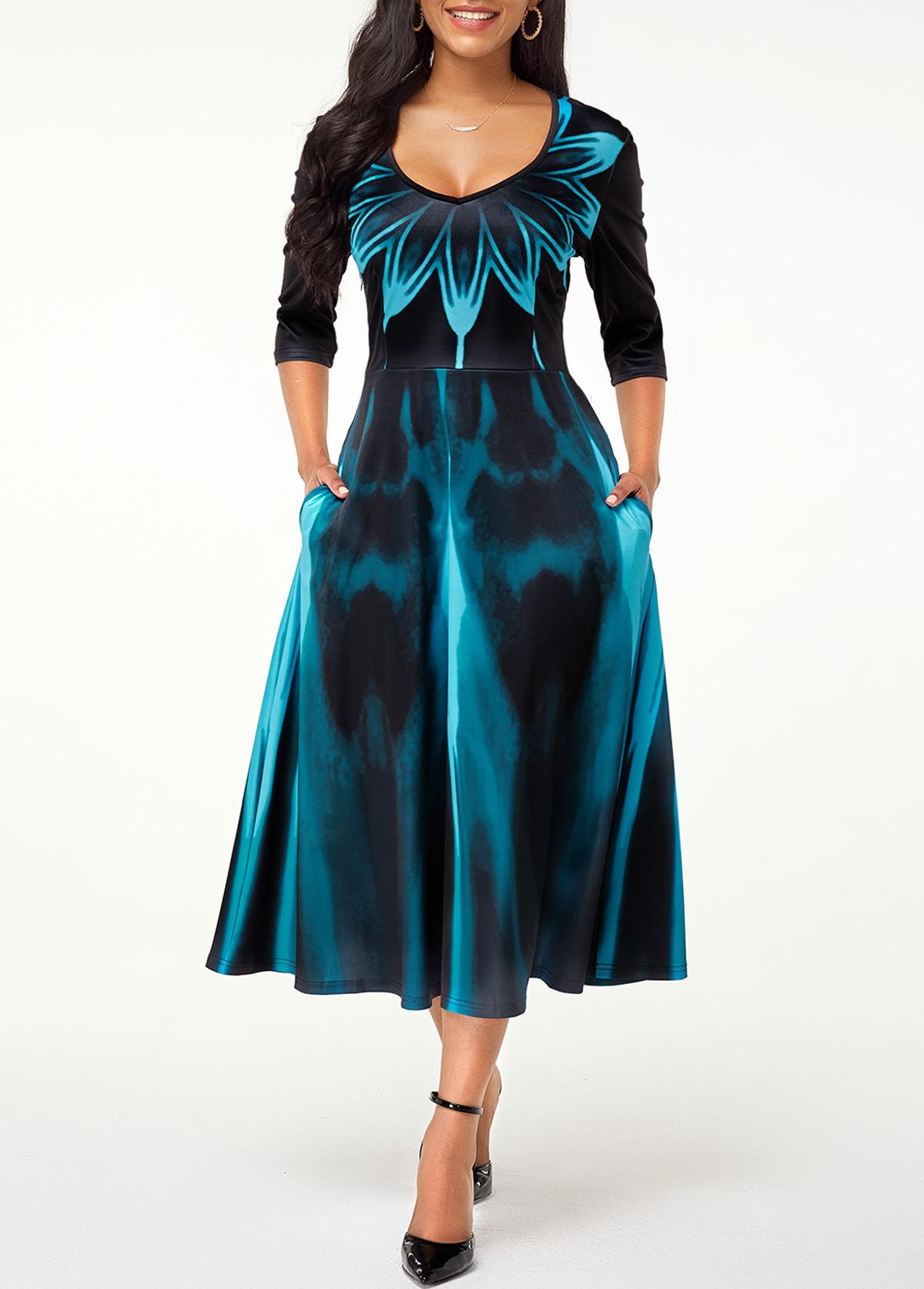 ROTITA V Neck High Waist Printed Dress