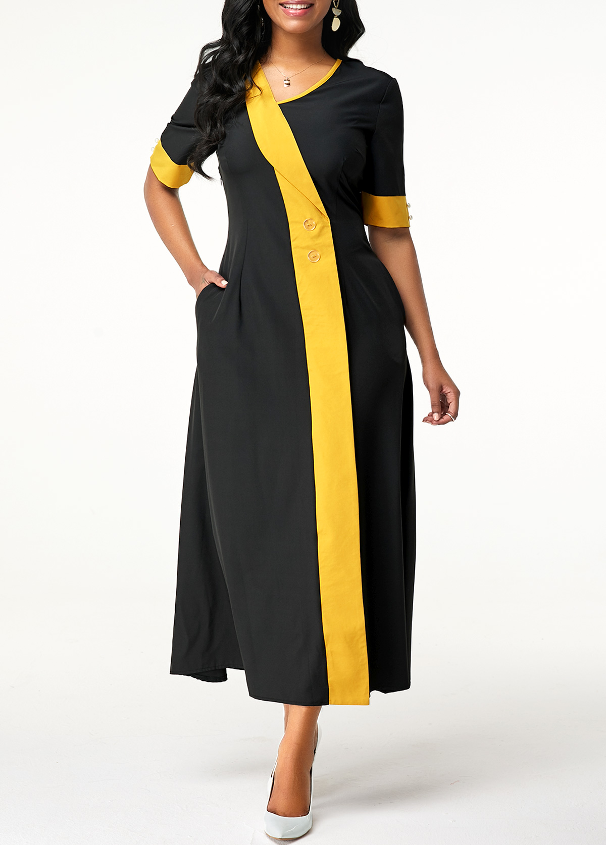 Asymmetric Neck Button Detail Pocket Maxi Dress