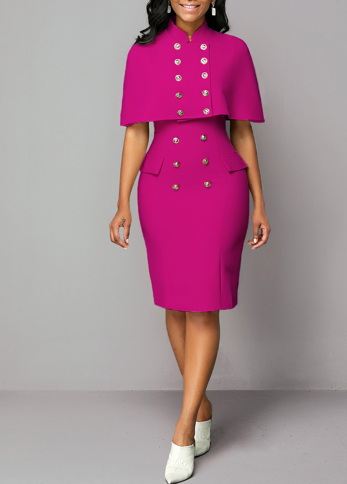 Button Detail Stand Collar Top and Sheath Dress