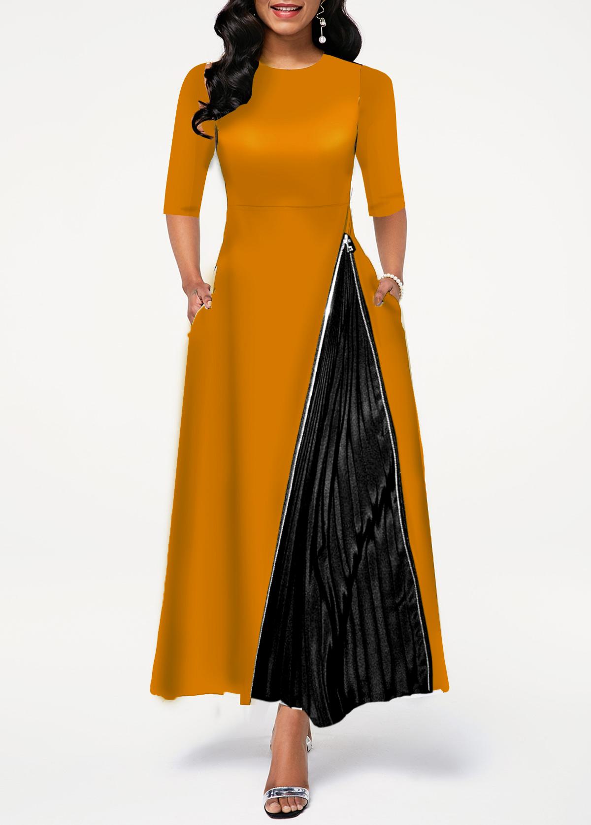 Zipper Detail Round Neck High Waist Dress
