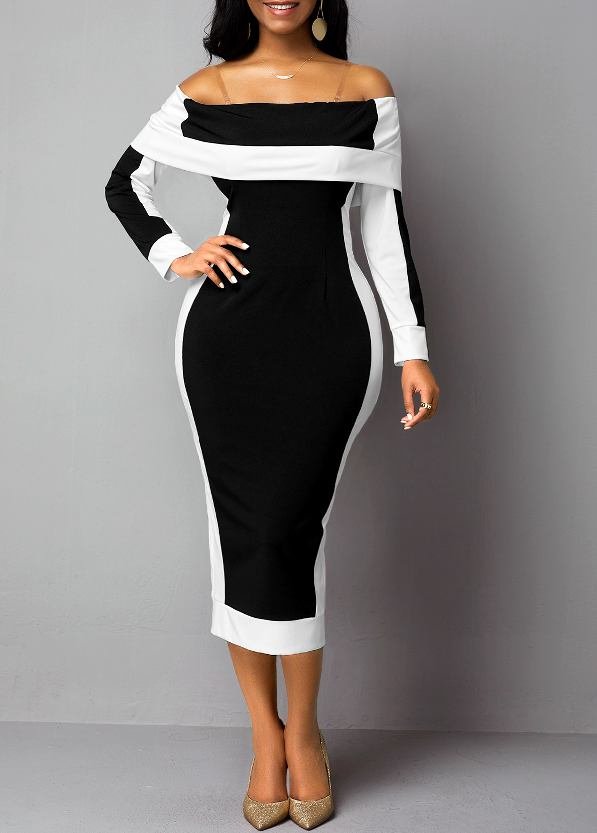Long Sleeve Off the Shoulder Back Slit Dress