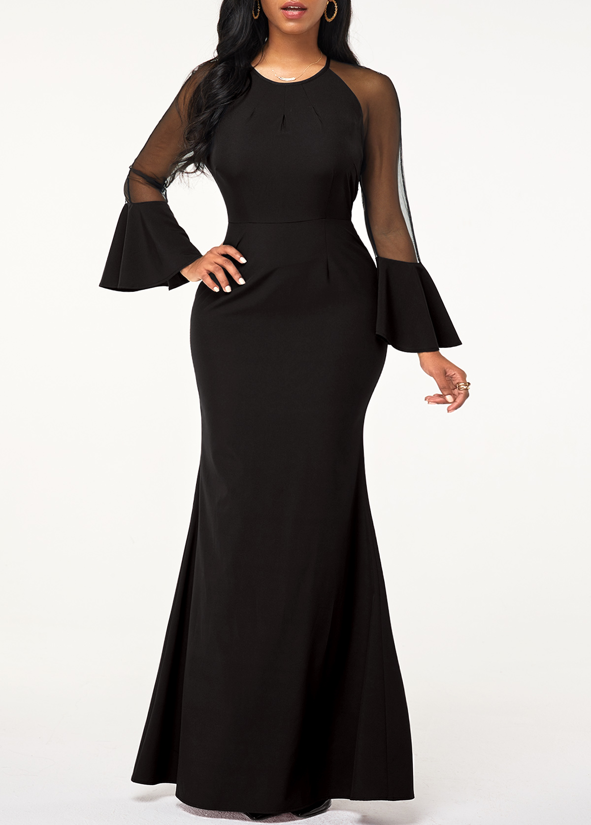 Mesh Panel Back Zipper Flare Sleeve Maxi Dress