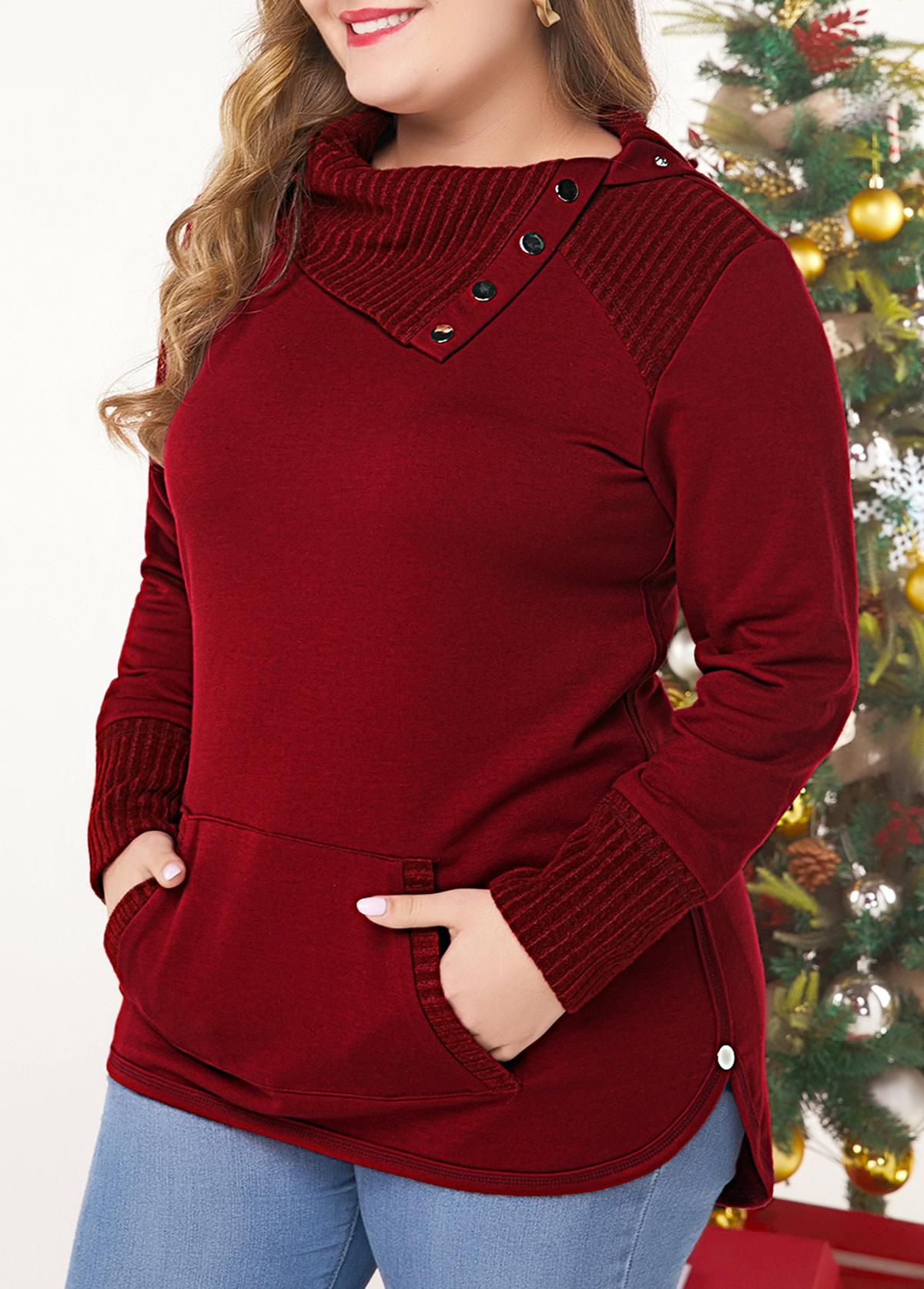 Plus Size Kangaroo Pocket Wine Red Sweatshirt
