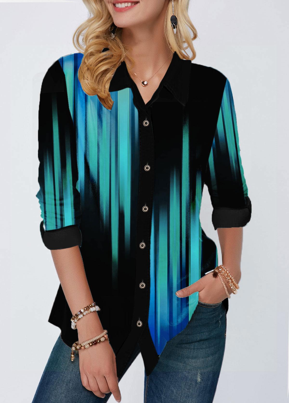 Gradient Button Up Turndown Collar Printed Shirt